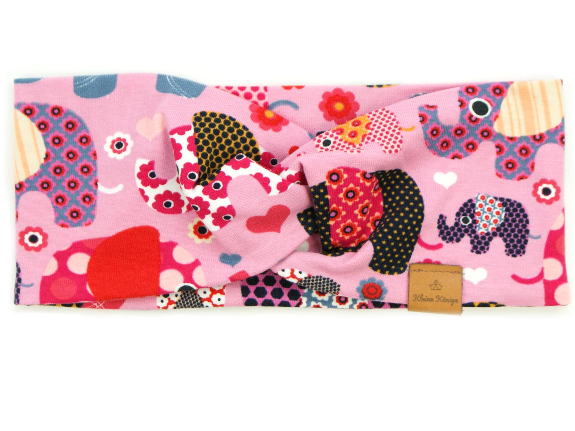 "Kinder Haarband Stirnband ""Elefantenparty"" rosa beere"