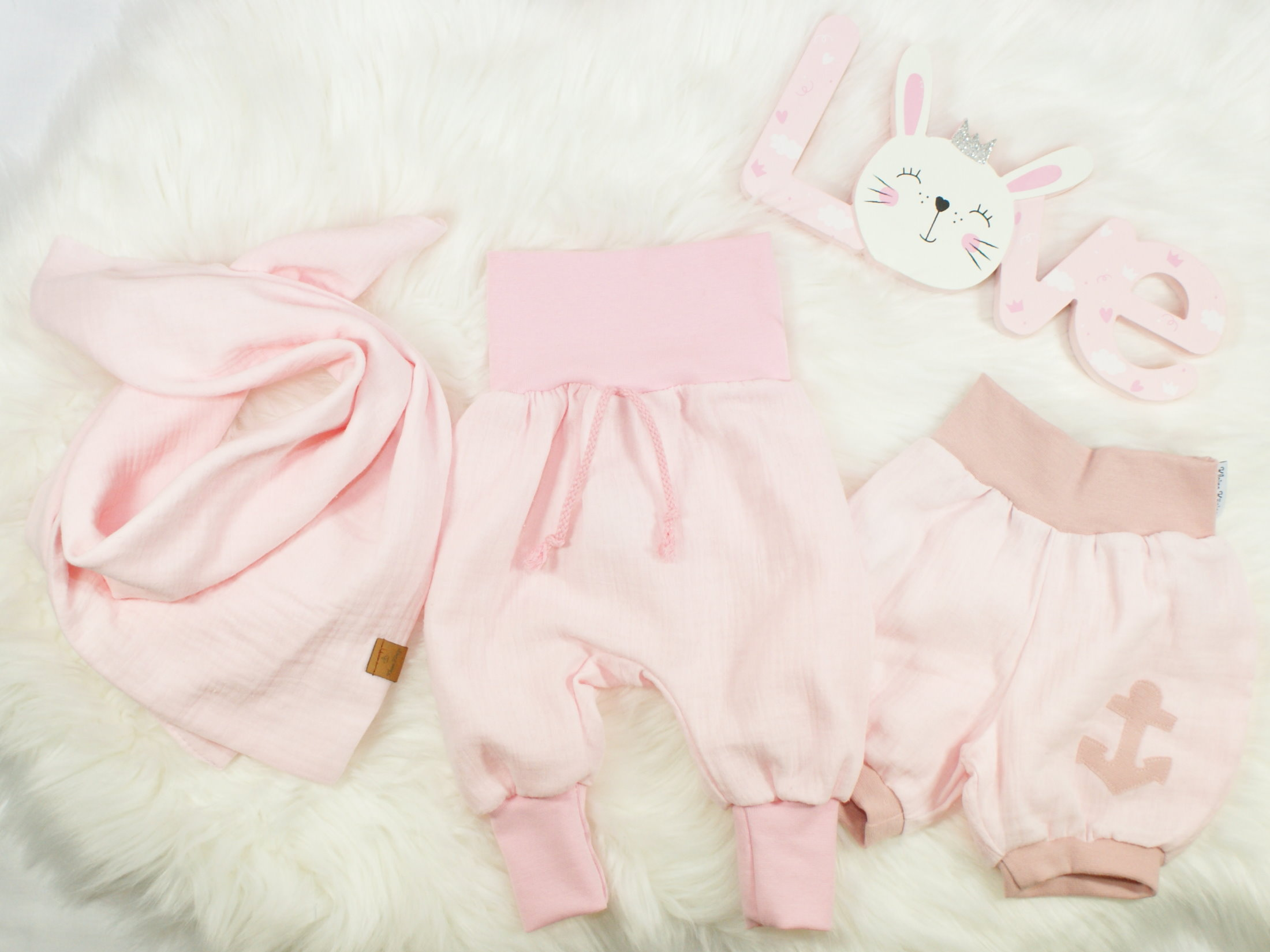 """Musselin Baby Pumphose """"Uni"""" rosa"""
