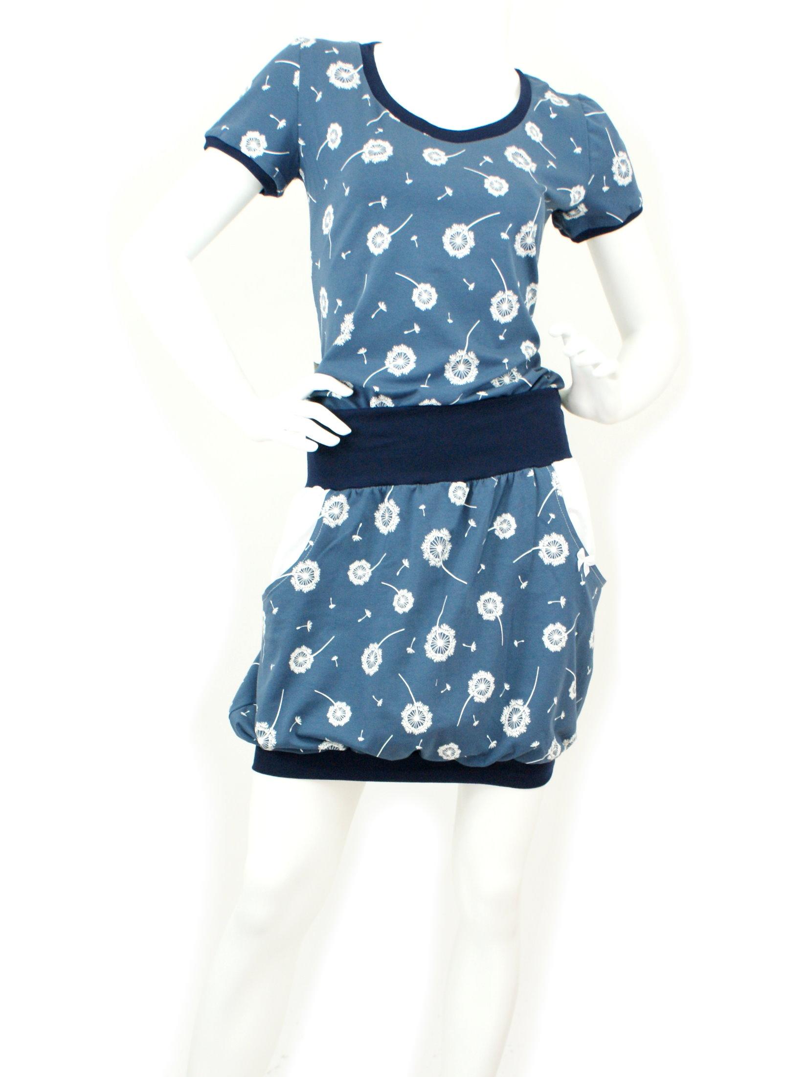 """Damen Ballonrock """"Pusteblumen"""" blau weiß mit Taschen"""