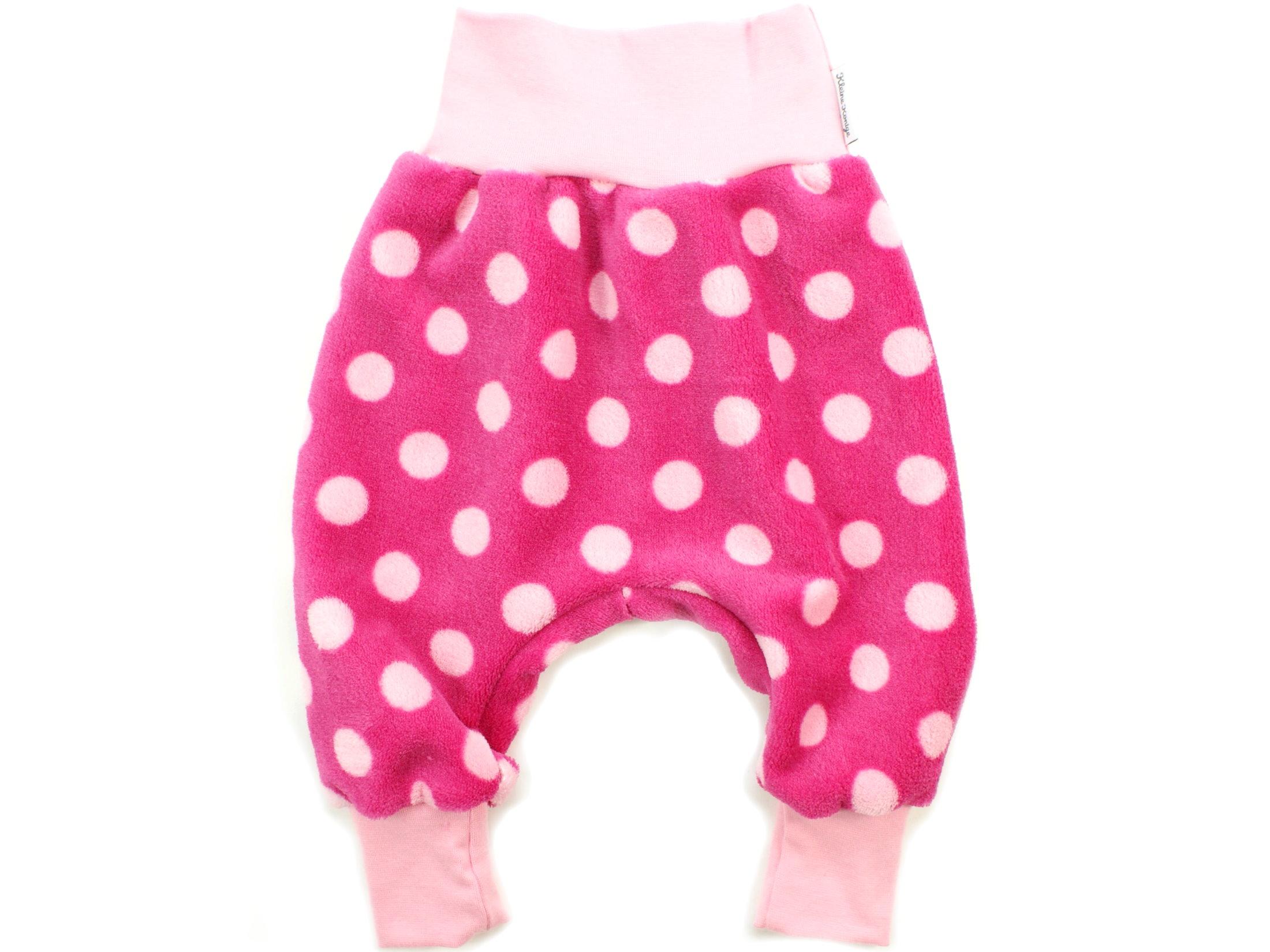 """Baby Fleecehose """"Große Punkte"""" rosa pink aus Kuschelfleece"""