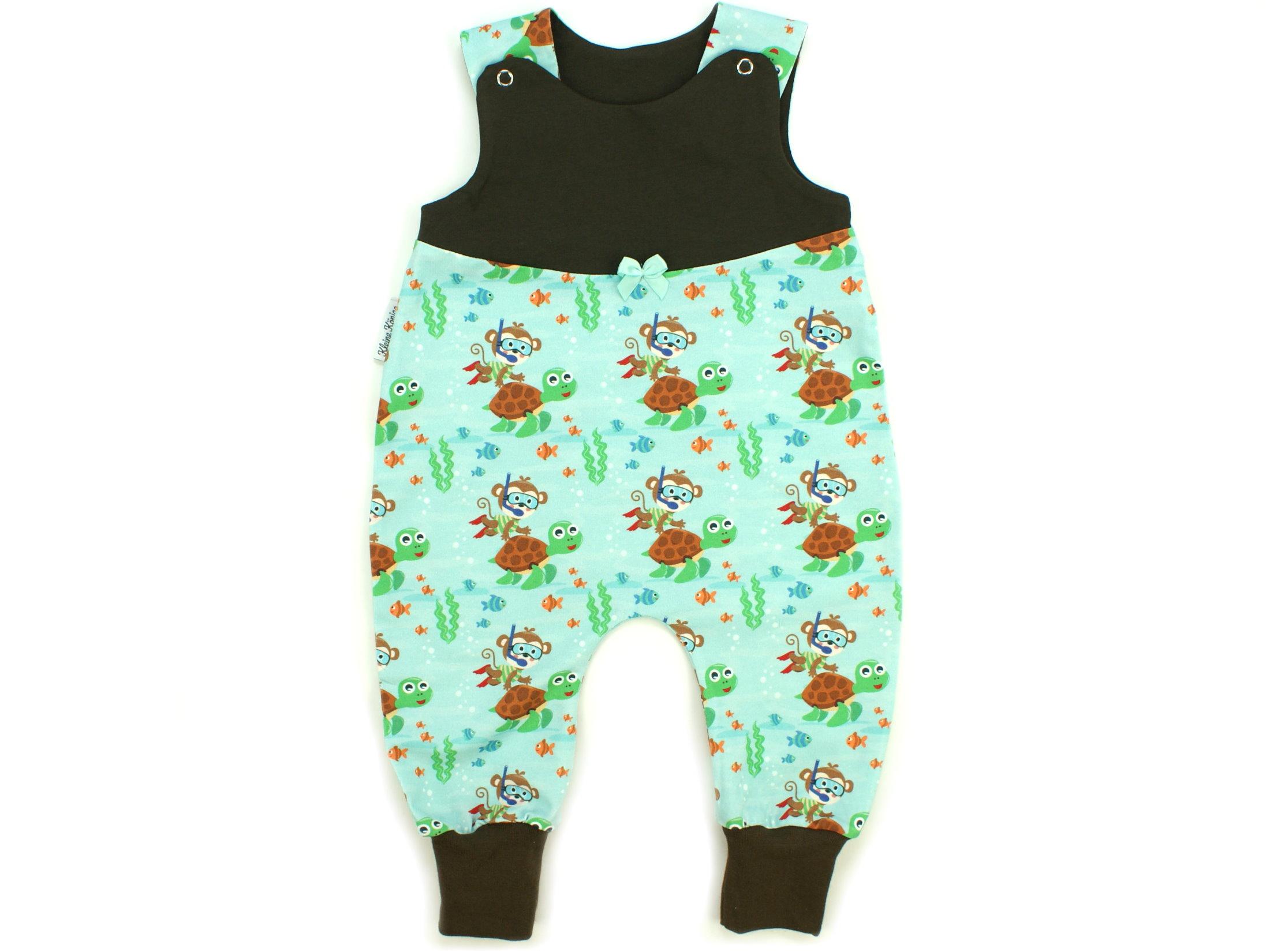 "Baby Strampler Affe ""Diving Monkey"" aqua braun"