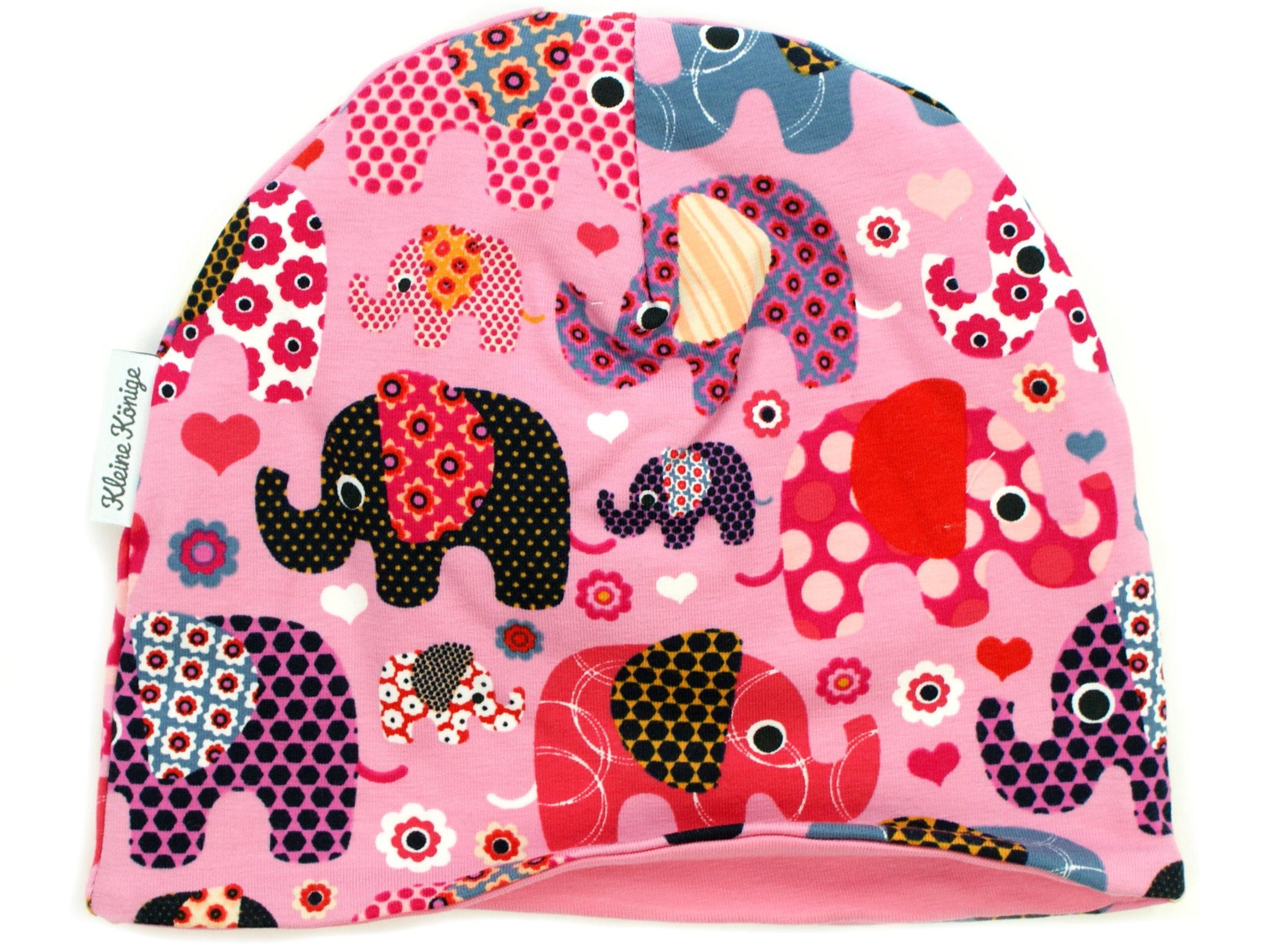 "Kindermütze Beanie ""Elefantenparty"" rosa beere"