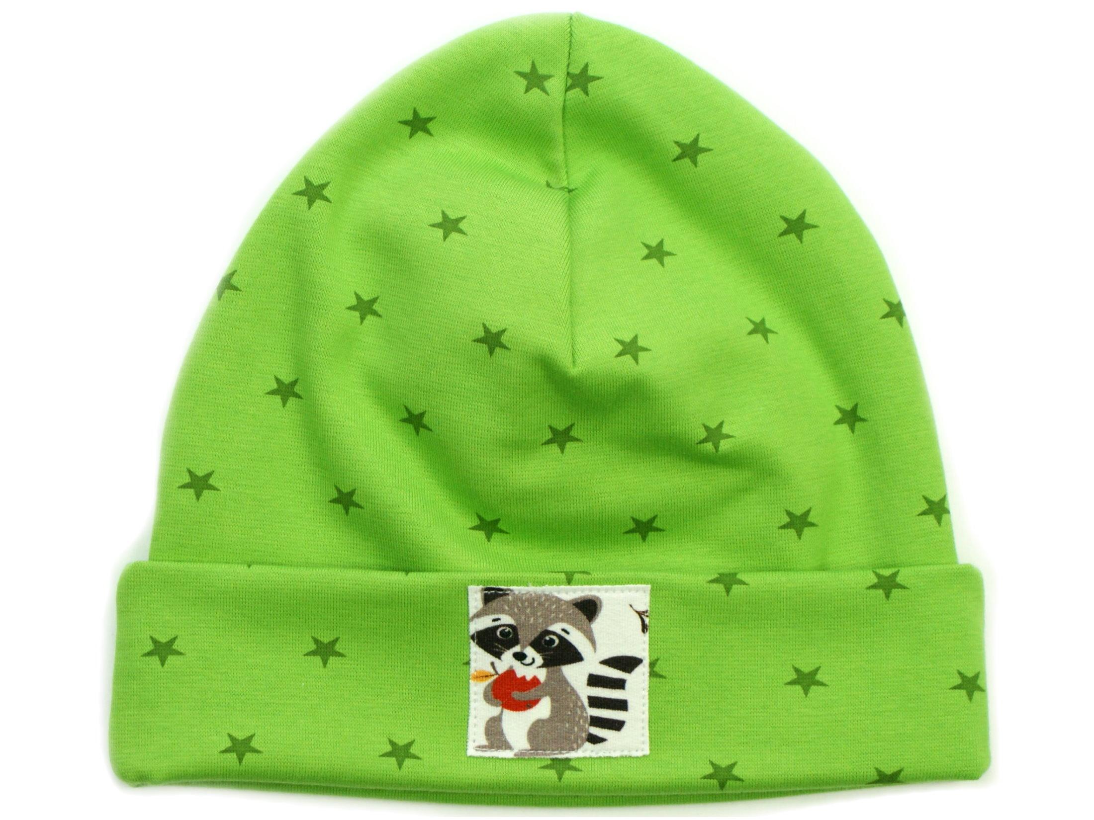 """Kinder Hipster Beanie Mütze """"Waschbär"""" Sterne grün"""
