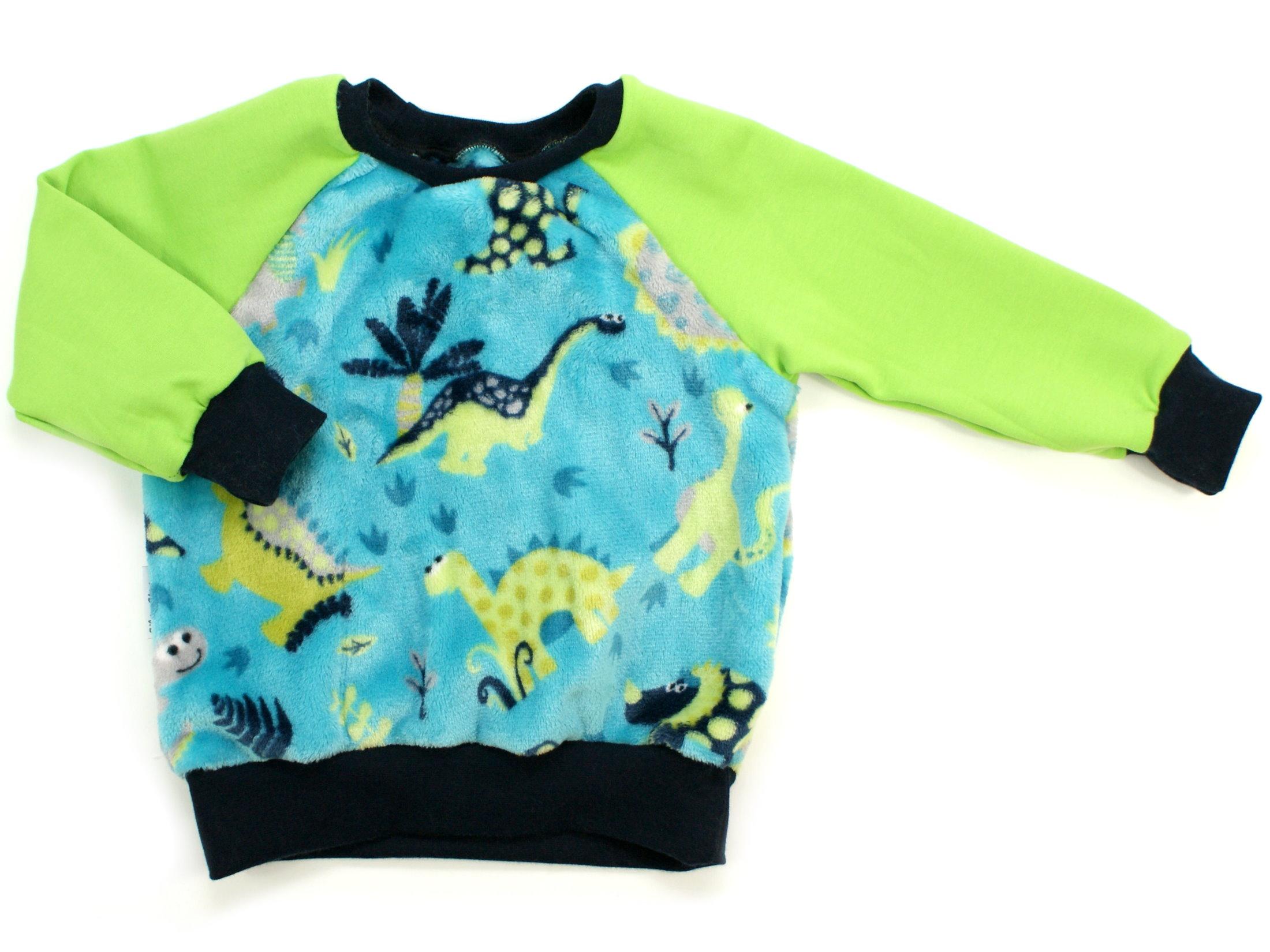 "Kinder Pullover ""Dinos"" petrol marineblau aus Kuschelfleece"