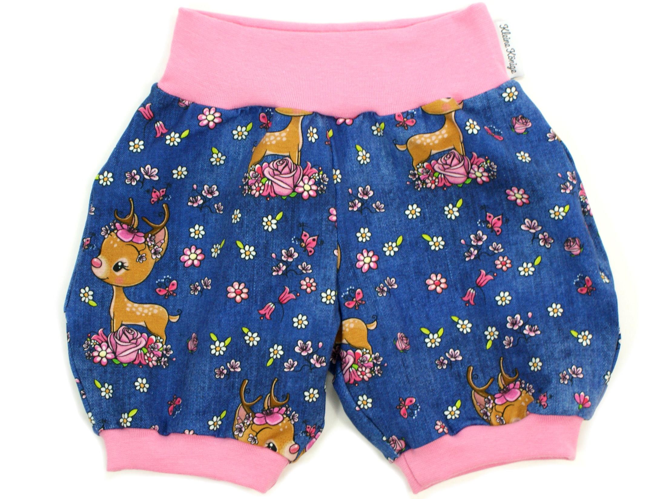 "Kinder Sommer Shorts Reh ""Bloomy Bambi"" jeansblau pink"