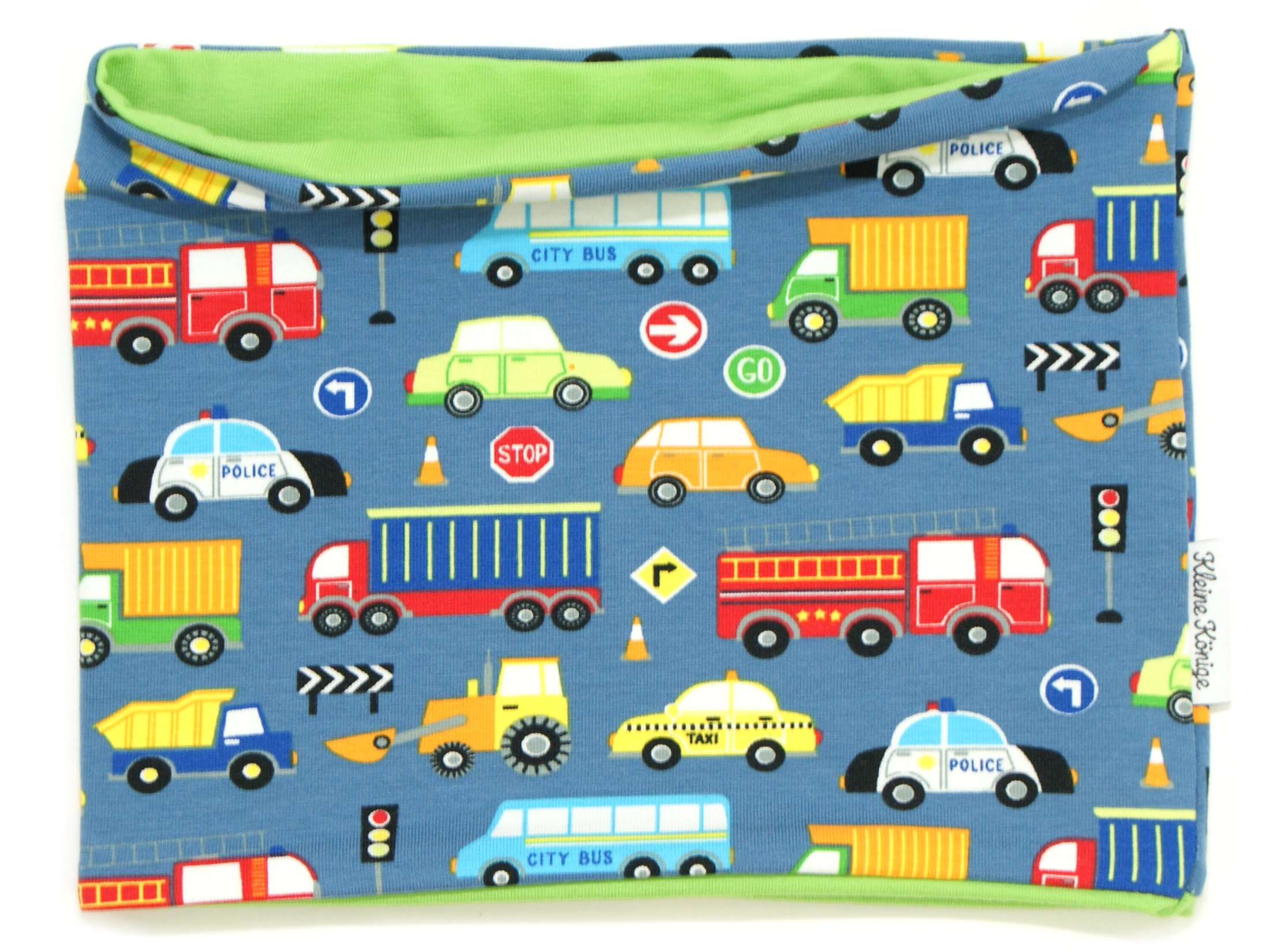 "Kinderloop Schal Autos ""Street"" blau lemon"