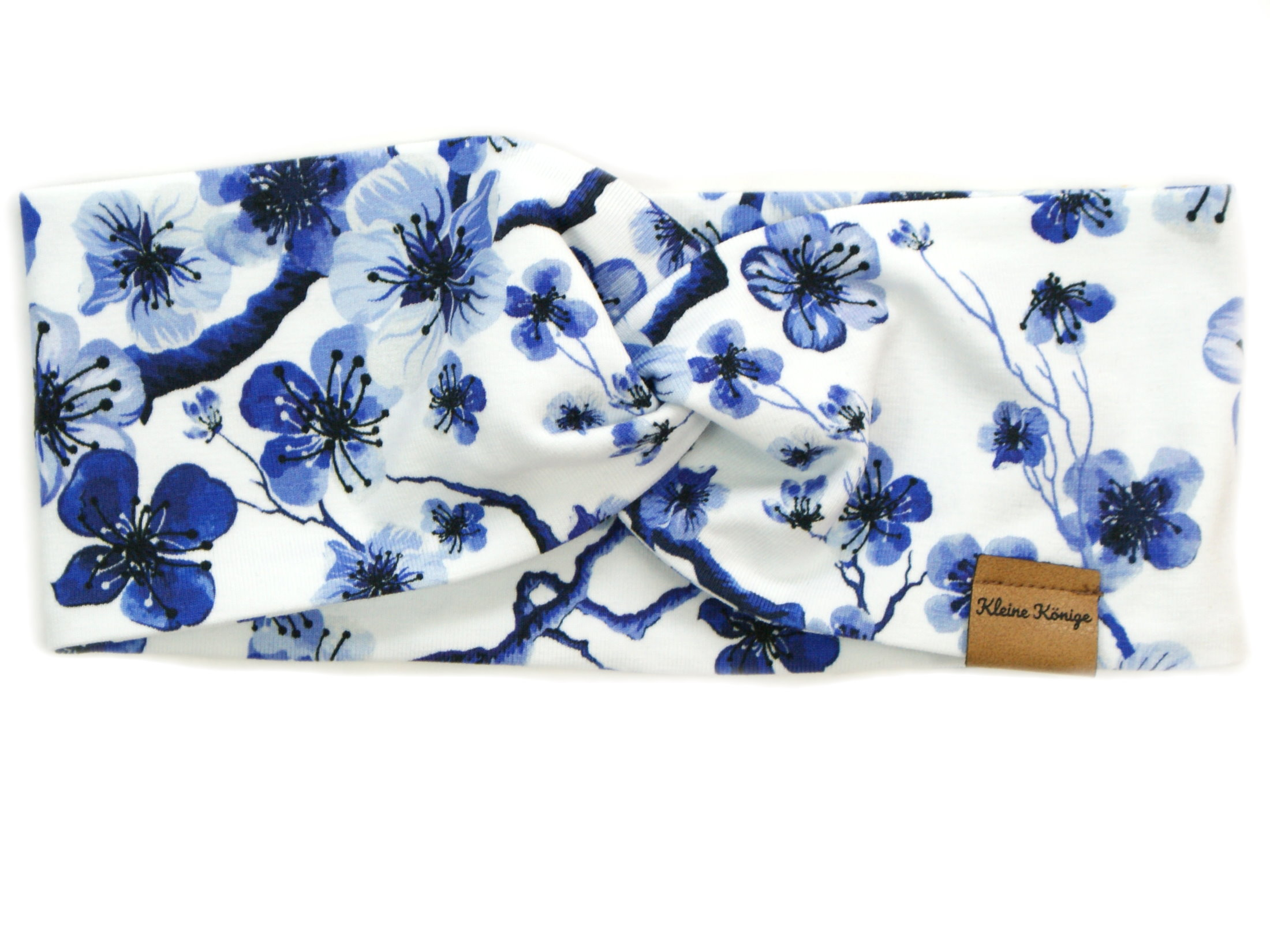 """Kinder Haarband Stirnband Blumen """"Blue Flowers"""" royalblau weiß"""