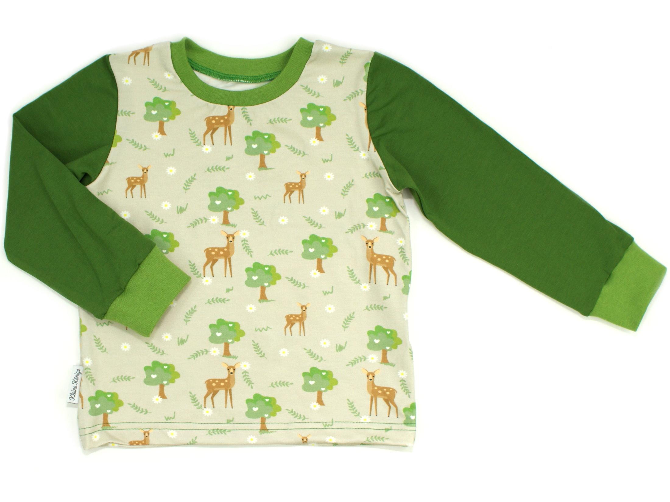 "Kinder Langarmshirt Rehe ""Lovely Wood"" beige grün"