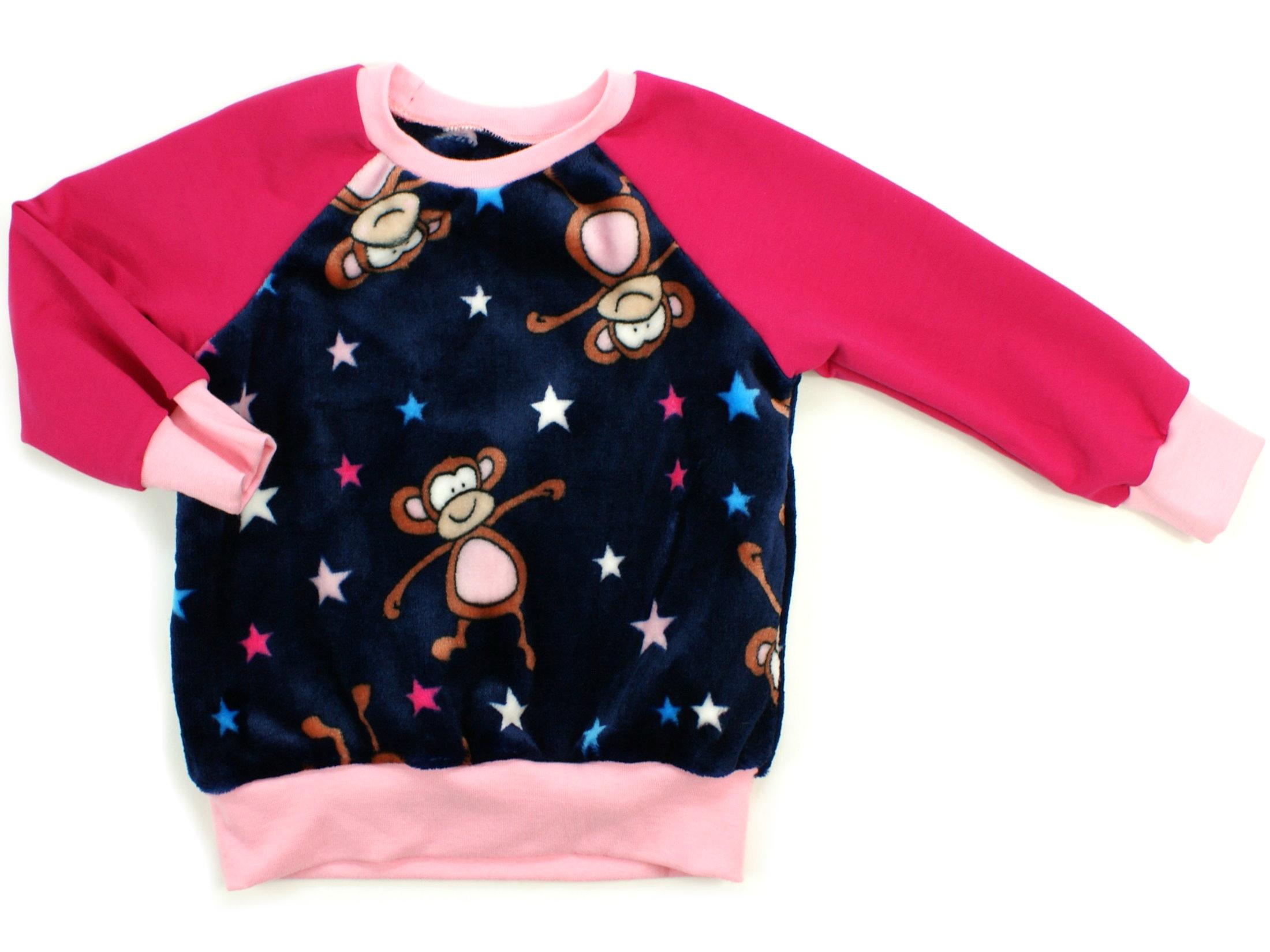 "Kinder Pullover ""Monkey Dance"" marineblau aus Kuschelfleece"