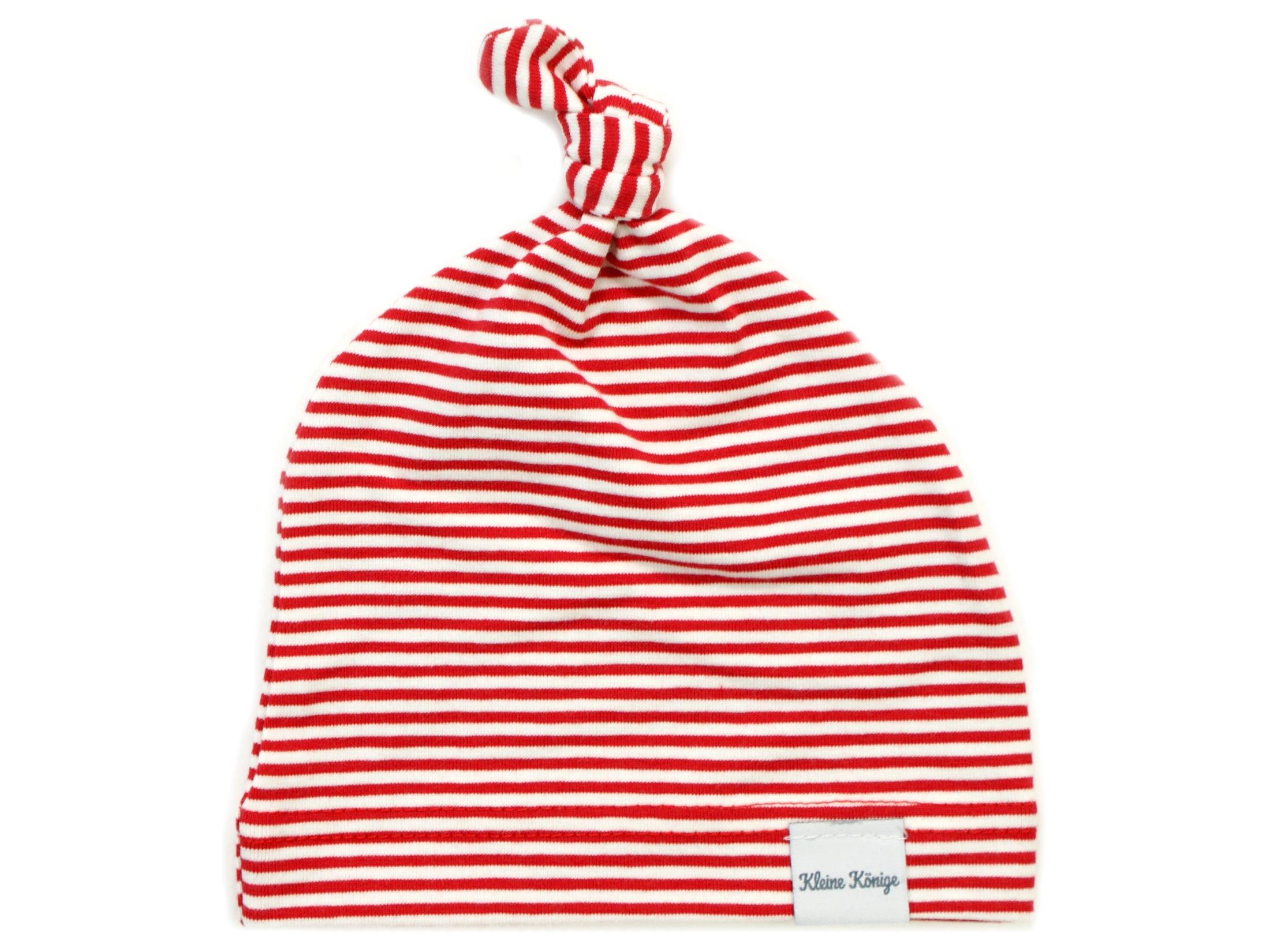 Babymütze Knotenmütze Streifen rot weiß