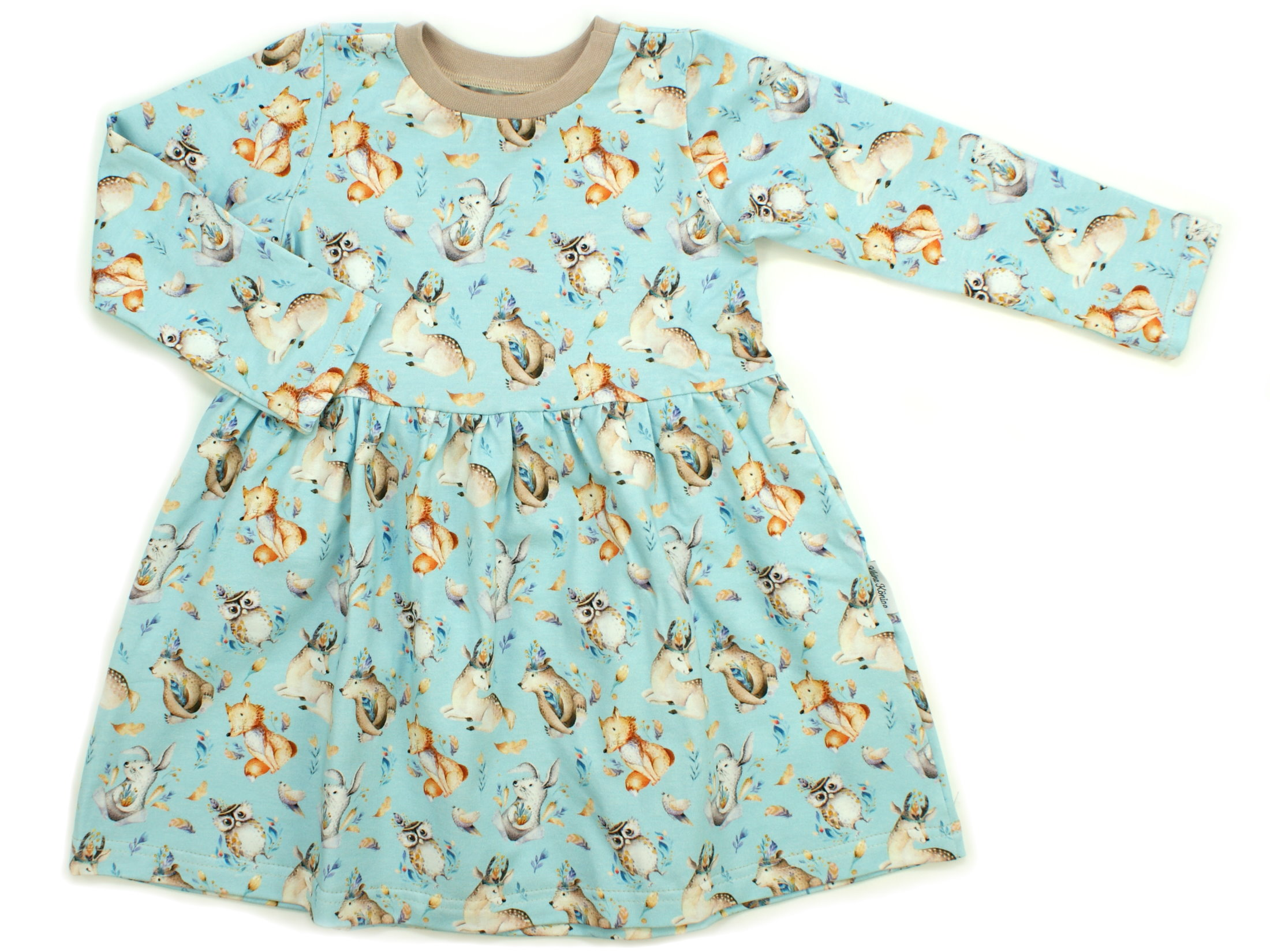 "Kinderkleid Tunika Reh, Fuchs ""Owl`s Friends"" beige blau"