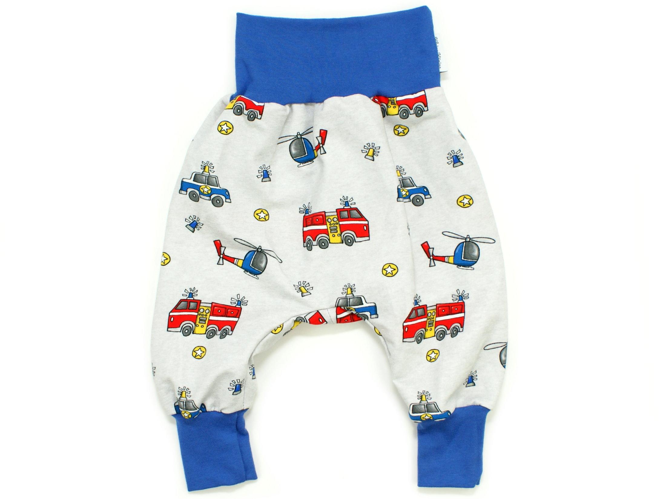 """Baby Pumphose Feuerwehr Polizei """"Rescue Cars"""" blau"""