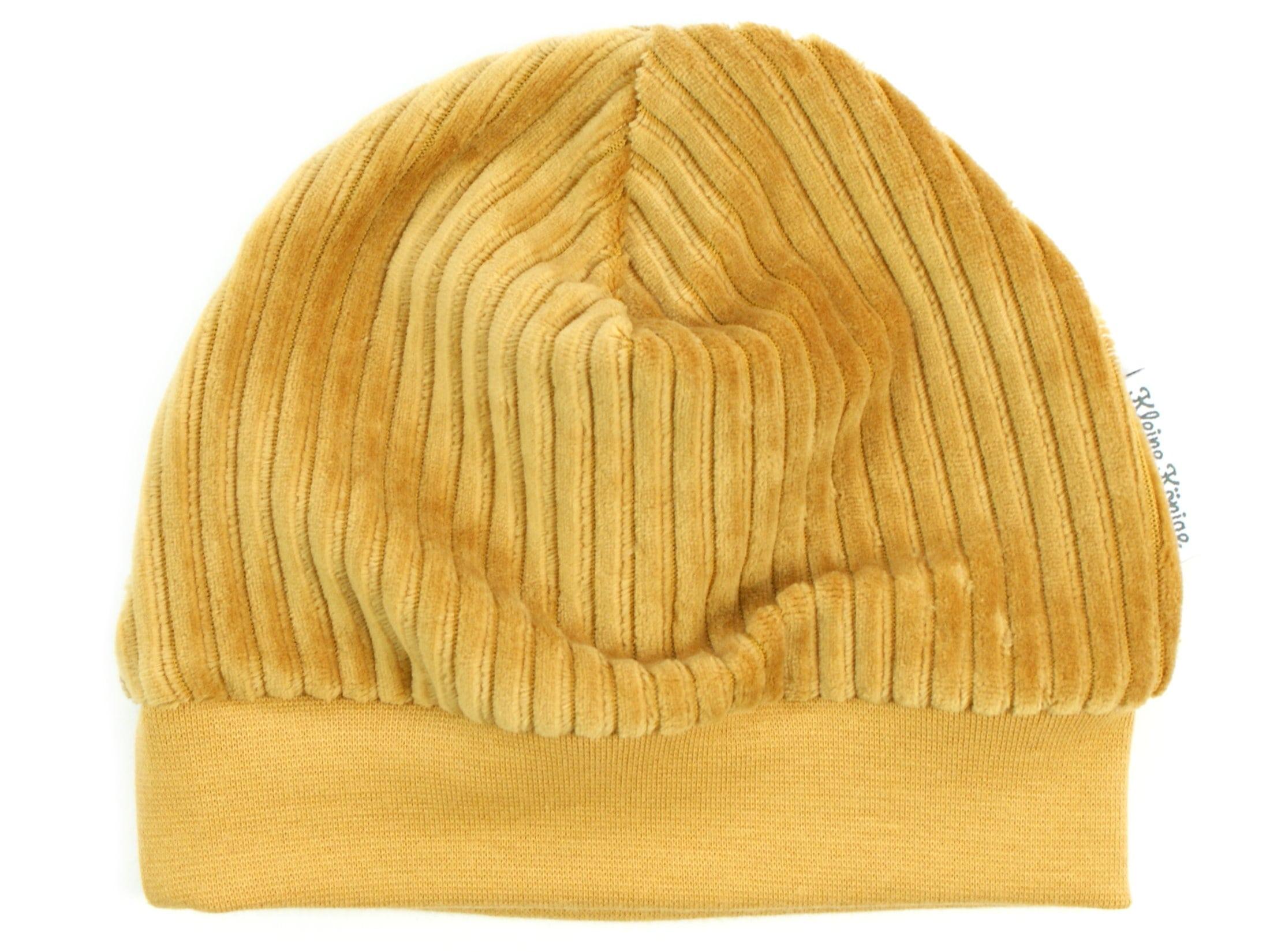 Kindermütze aus Rippjersey camel