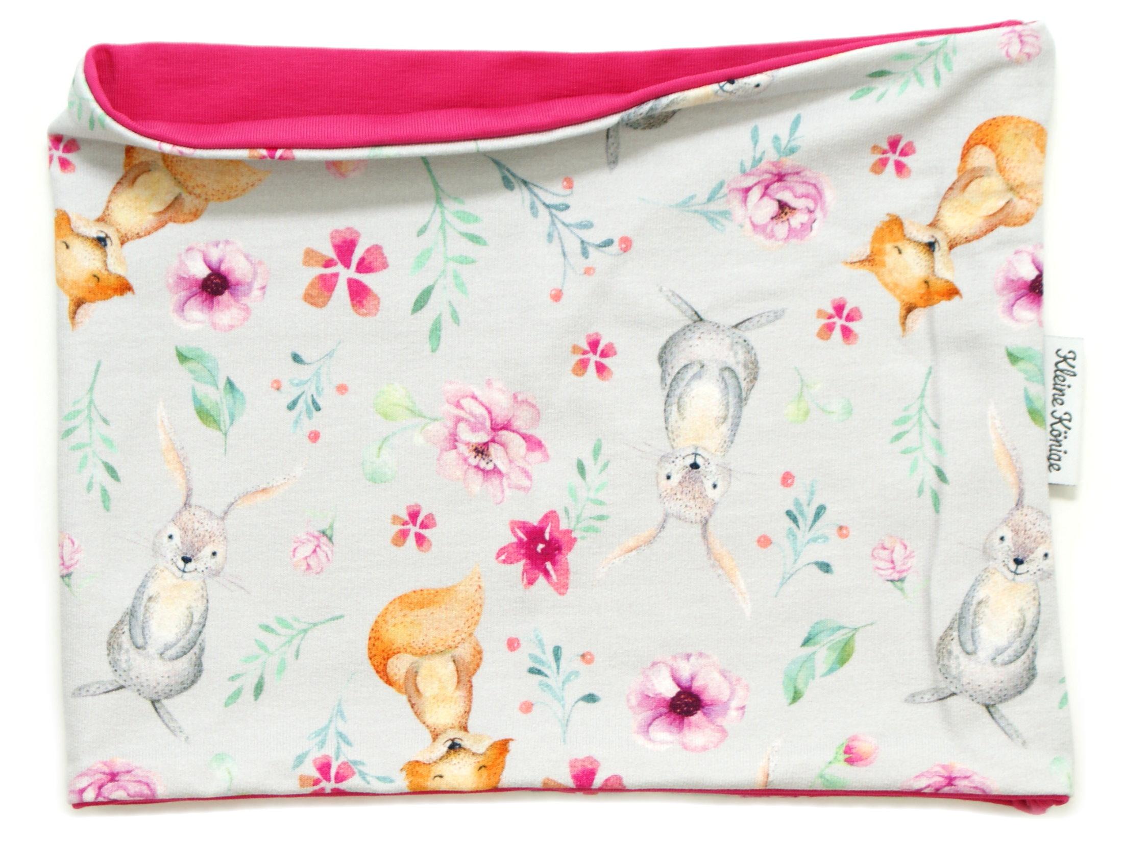 """Kinderloop Schal Hase Fuchs """"Bloomy Wood"""" hellgrau pink"""