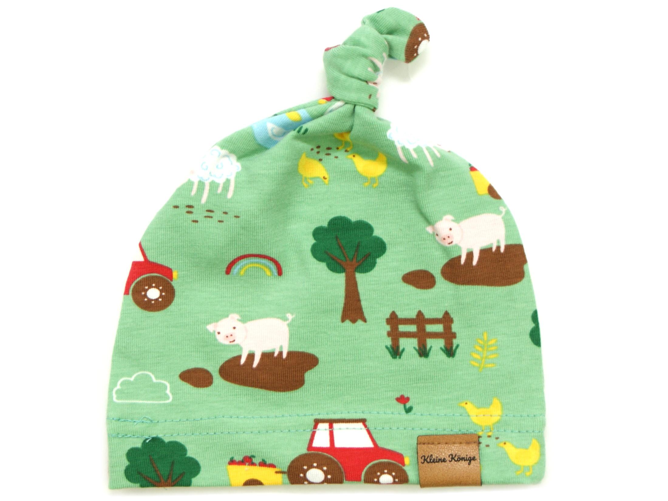 "Babymütze Knotenmütze Bauernhof ""Farm"" grün"
