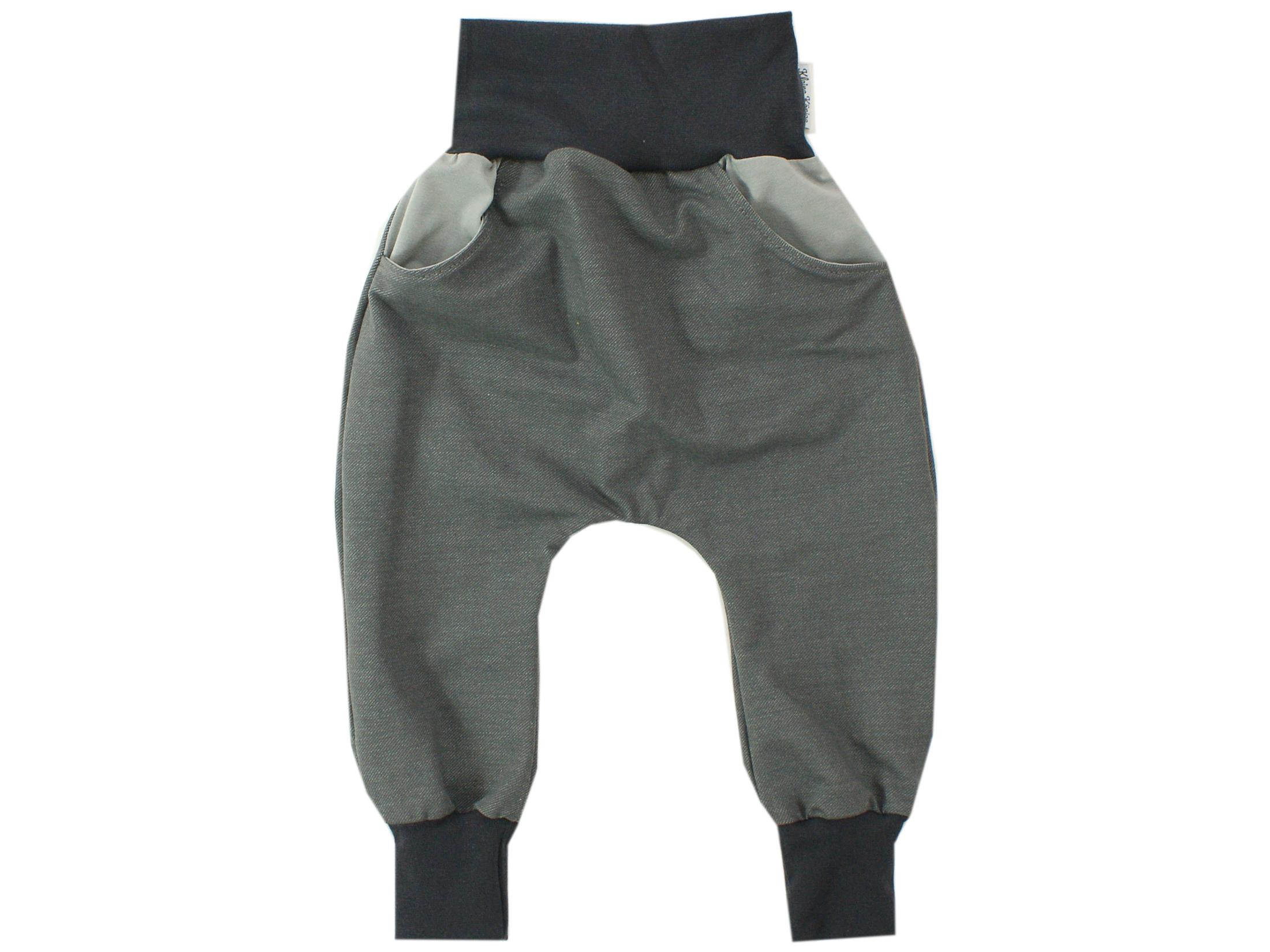 Kinderhose mit Taschen Jeansjersey grau