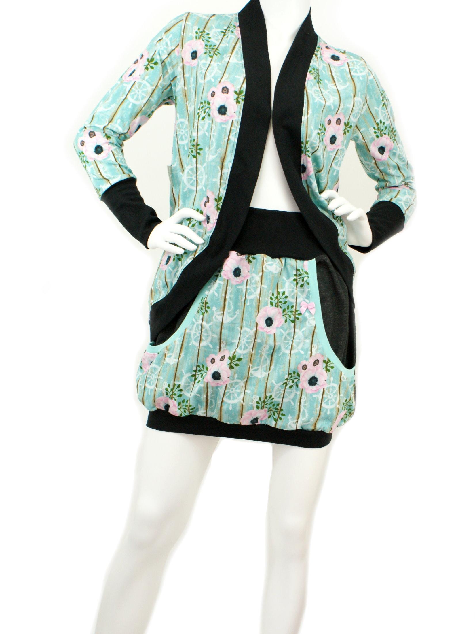 "Damenjacke Cardigan Anker ""Bloomy Anchor"" mint"