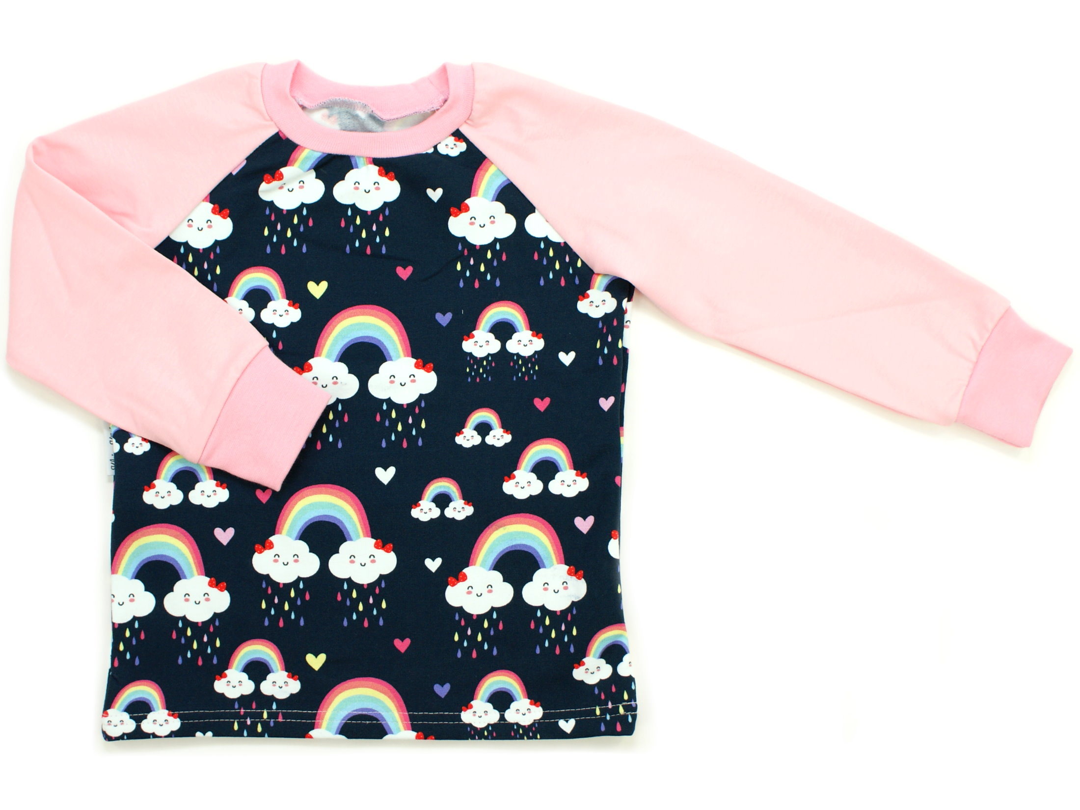 "Kinder Langarmshirt ""Cloudy Rainbow"" marineblau rosa"
