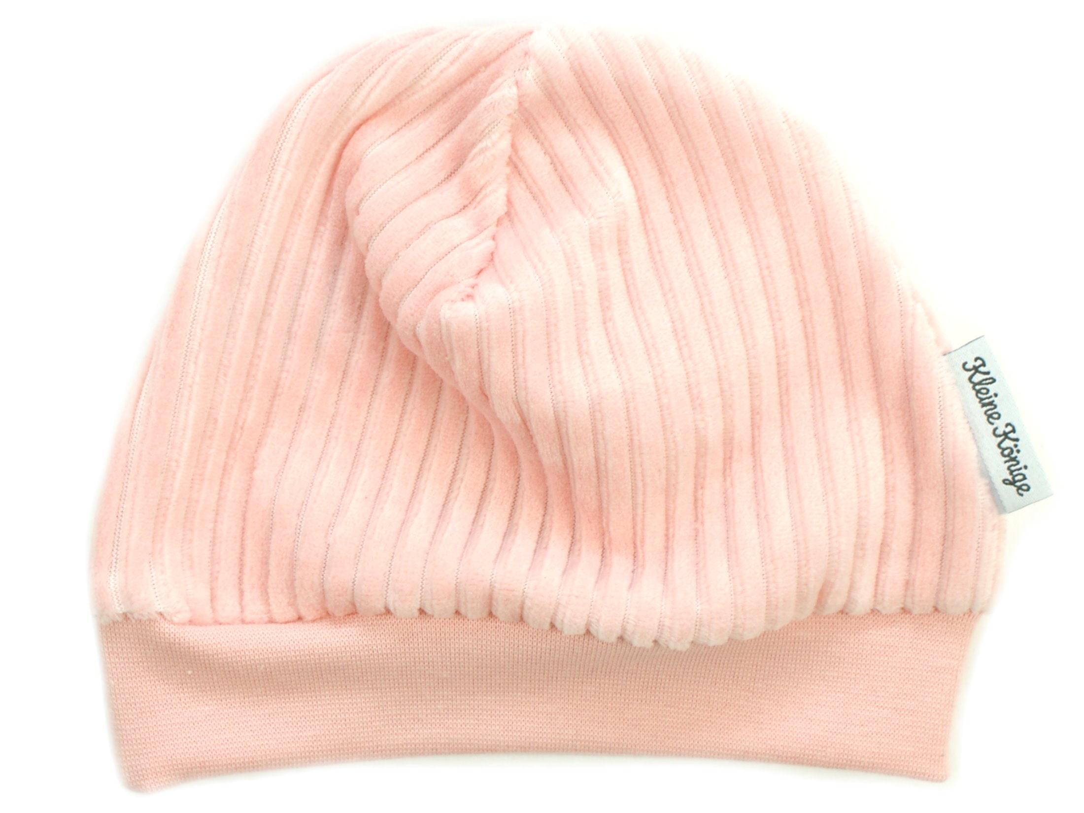Kindermütze aus Rippjersey rosa