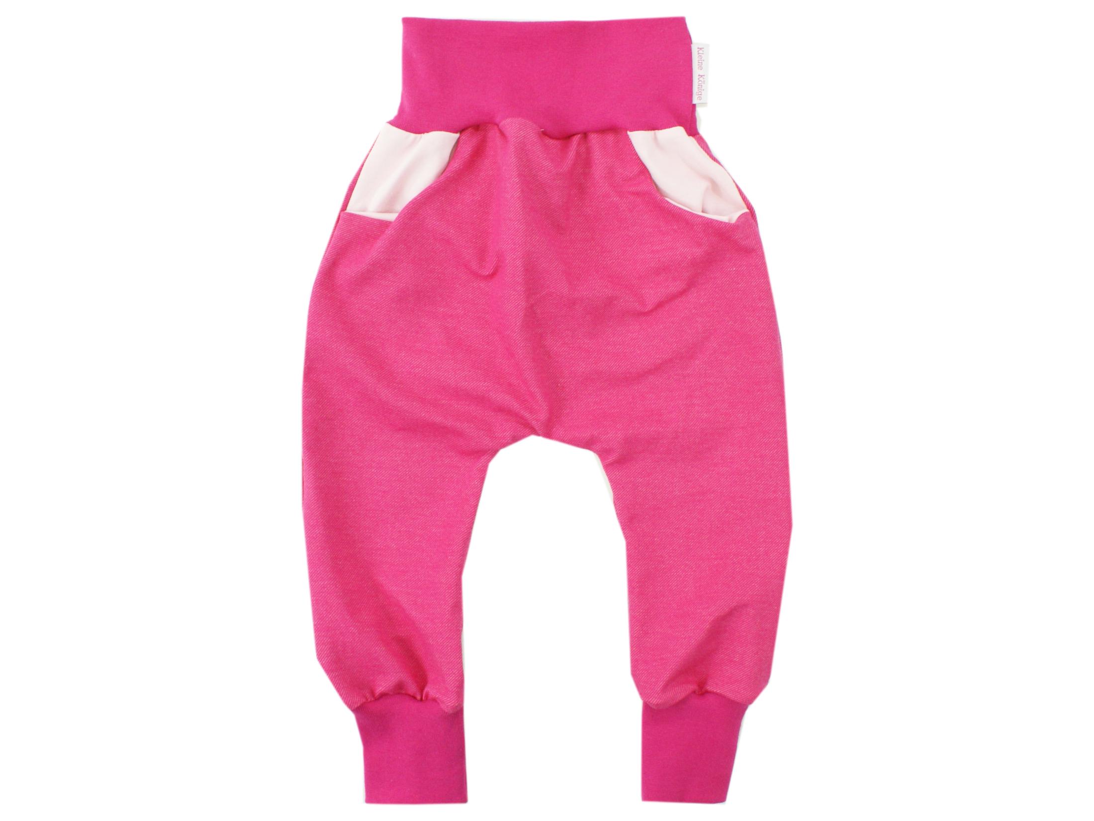 Kinderhose mit Taschen Jeansjersey pink