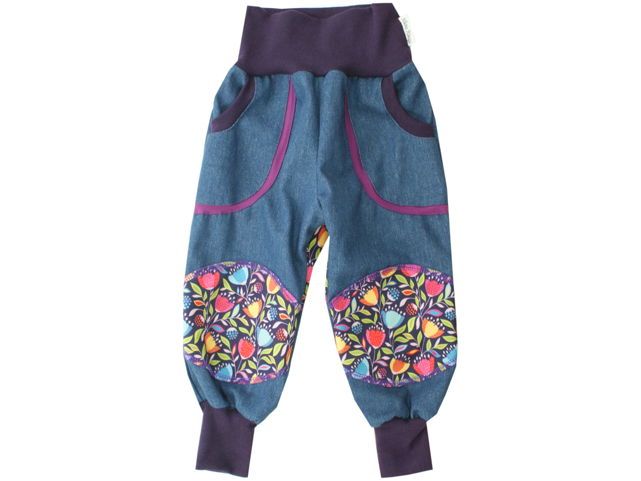 "Kinder Outdoorhose Jeans Räuberhose ""Blümchen"" lila"