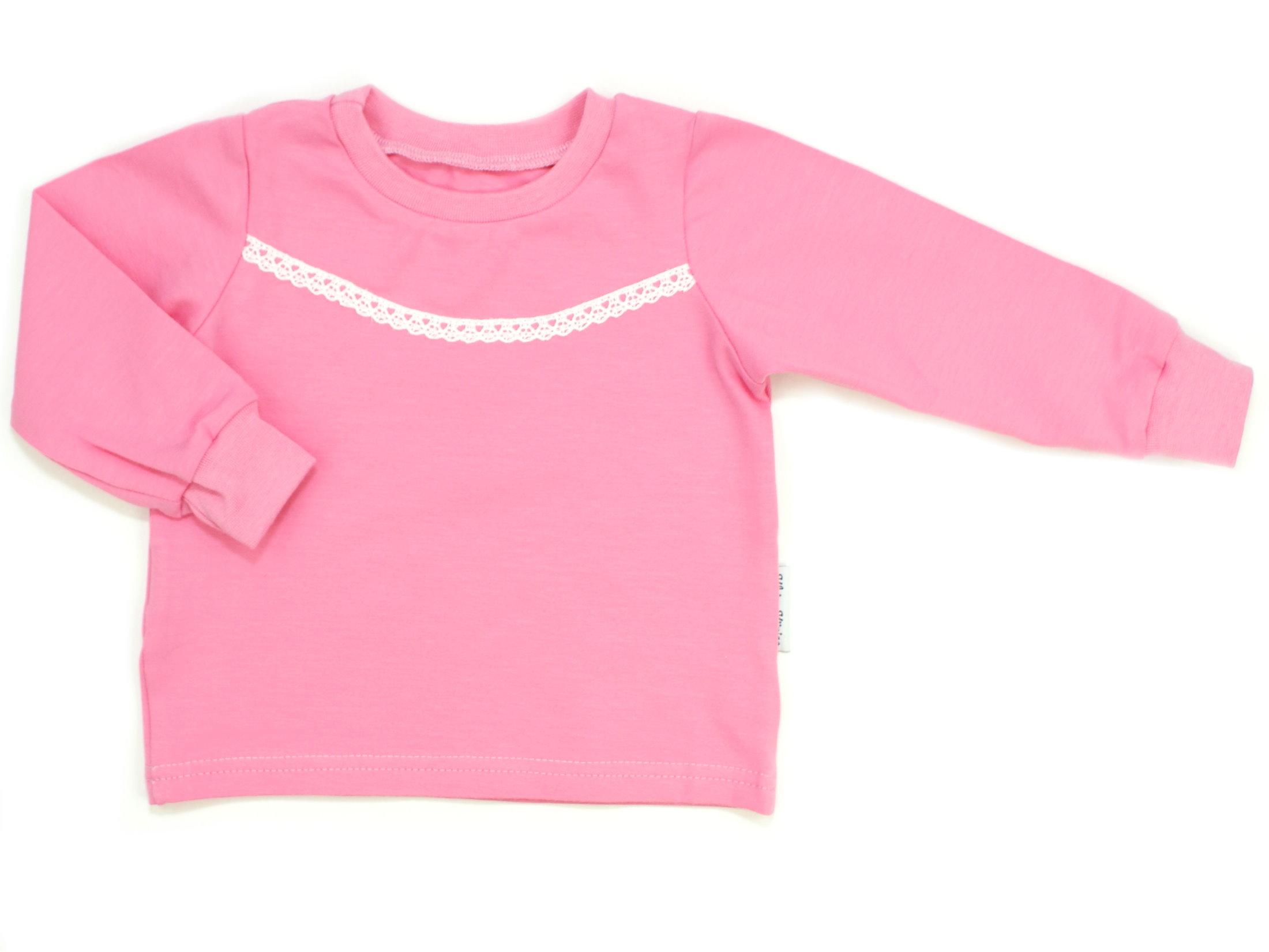 Kinder Langarmshirt uni rosa Spitze weiß