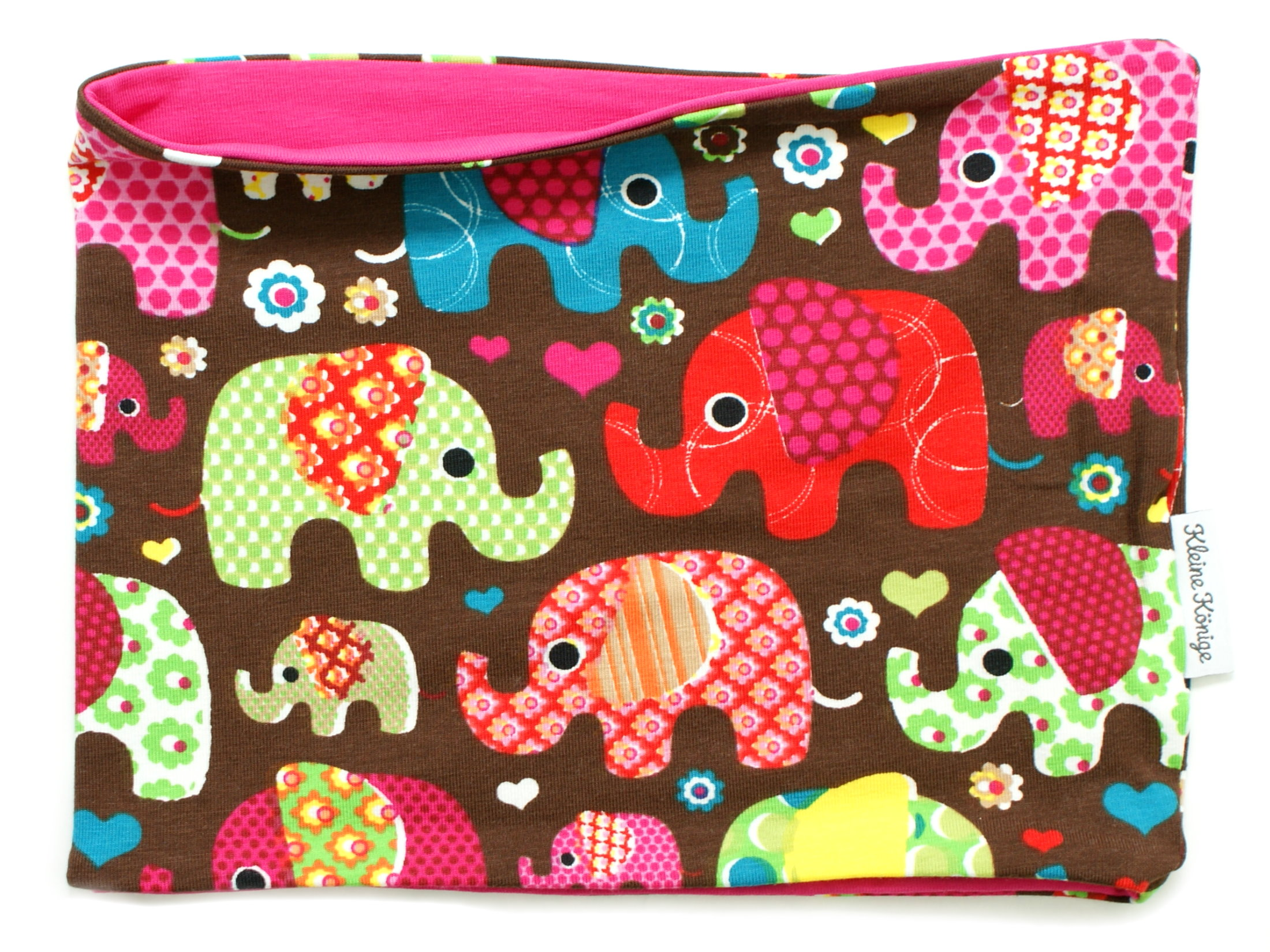 """Kinderloop Schal """"Elefantenparty"""" pink braun"""
