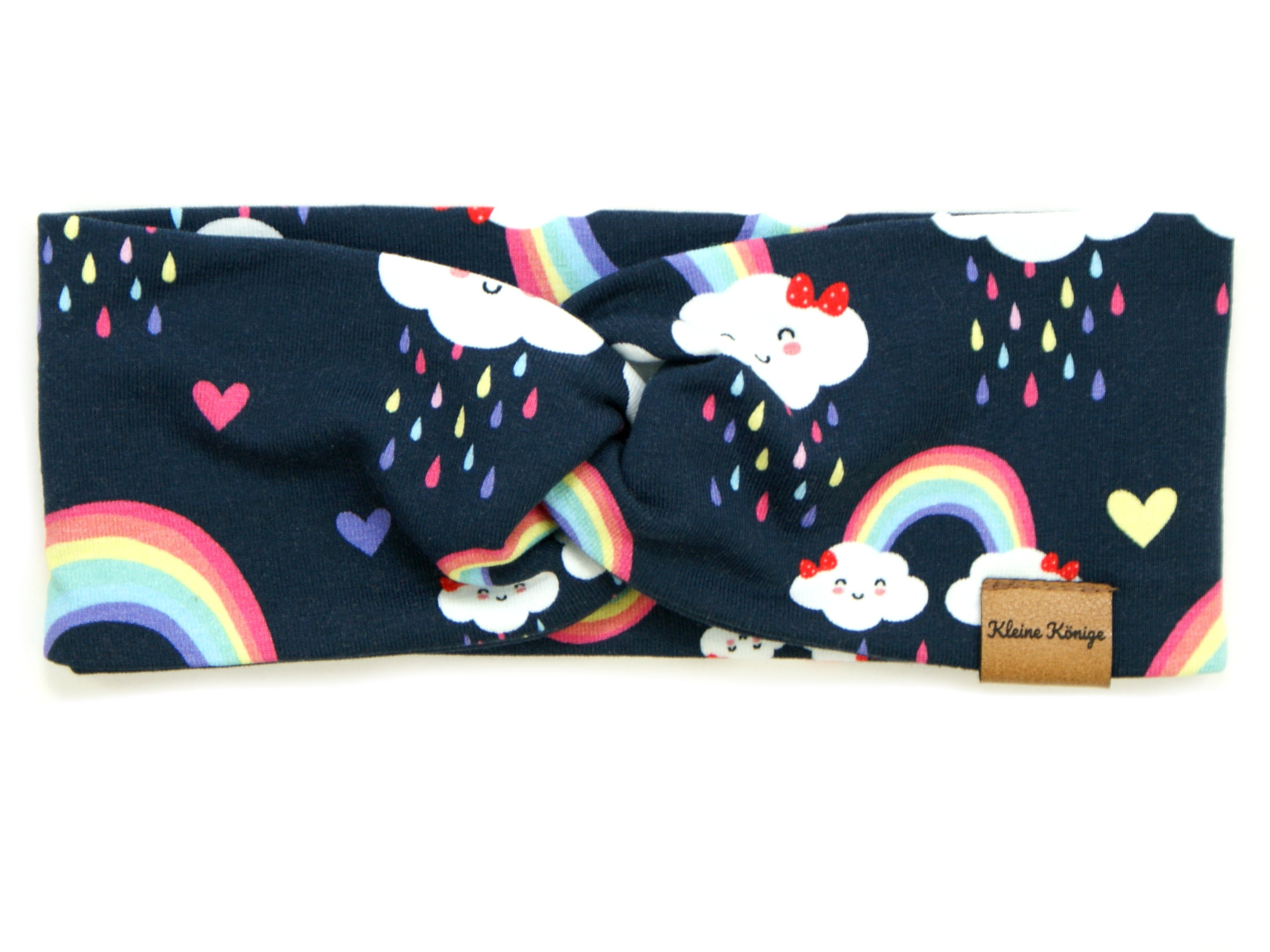 "Kinder Haarband Stirnband Regenbogen ""Cloudy Rainbow"" marineblau"