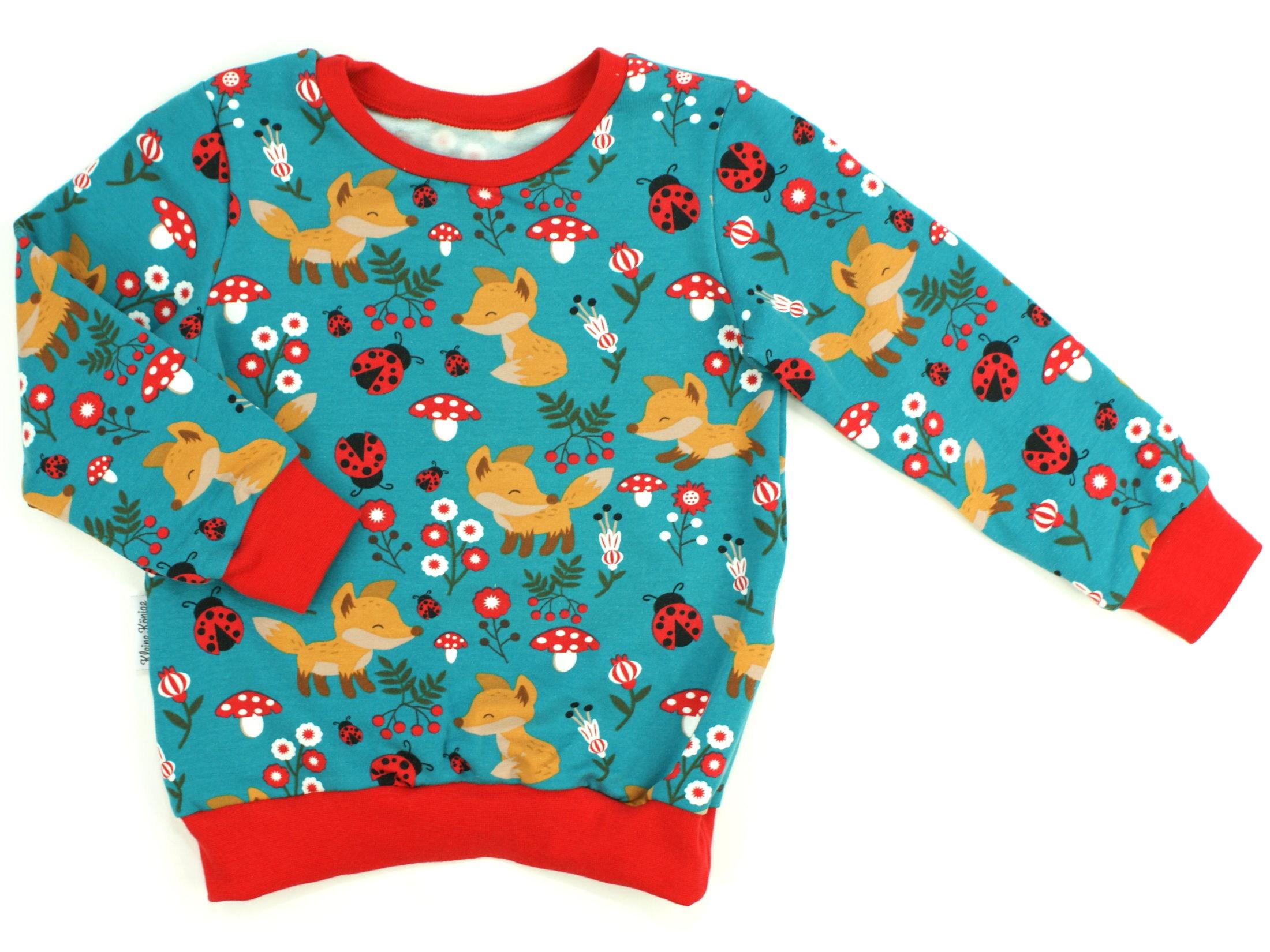 "Kinder Pullover Shirt Fuchs ""Foxy"" petrol"