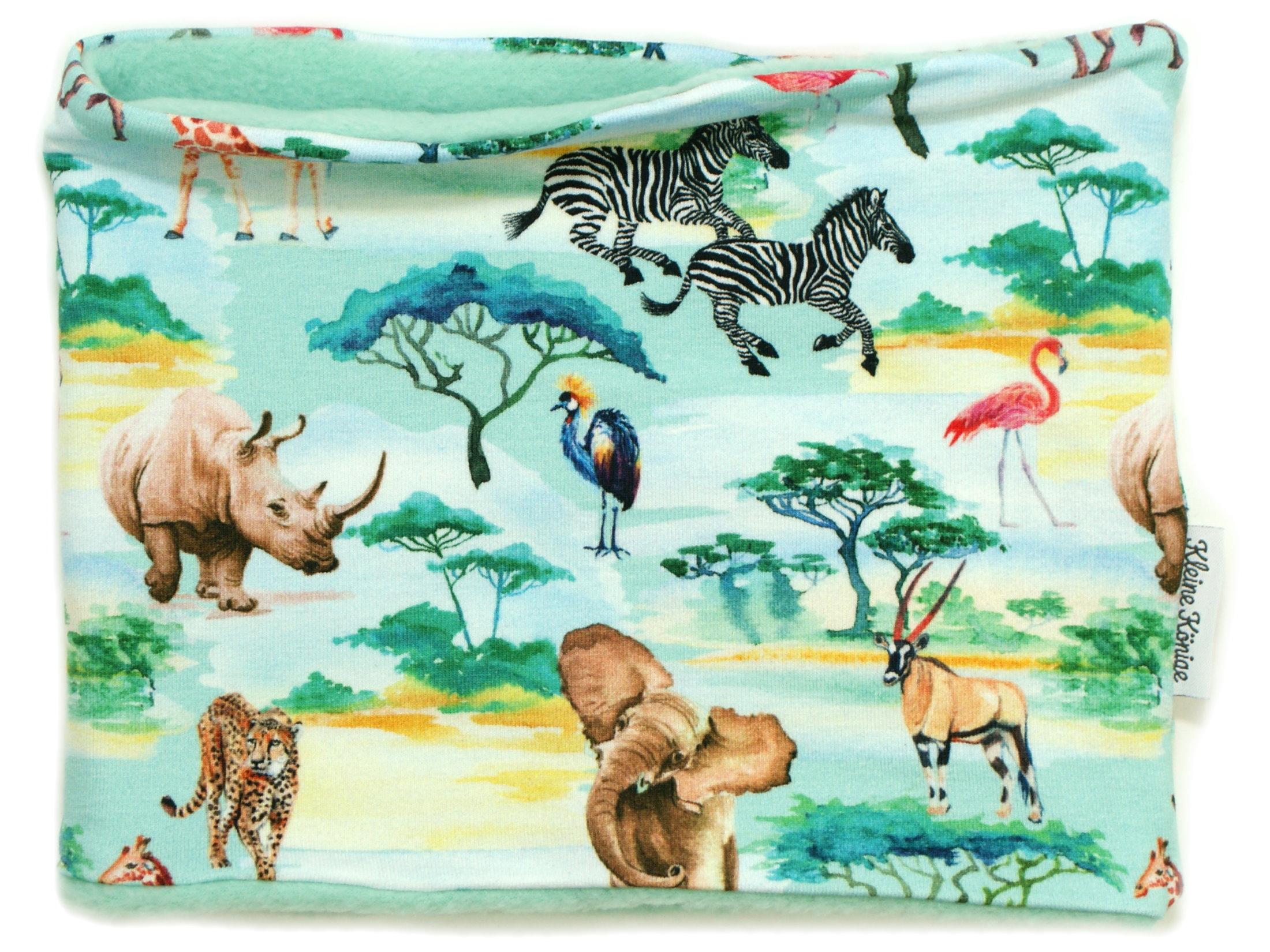"""Kinderloop Schal Dschungeltiere """"Safari"""" aqua"""