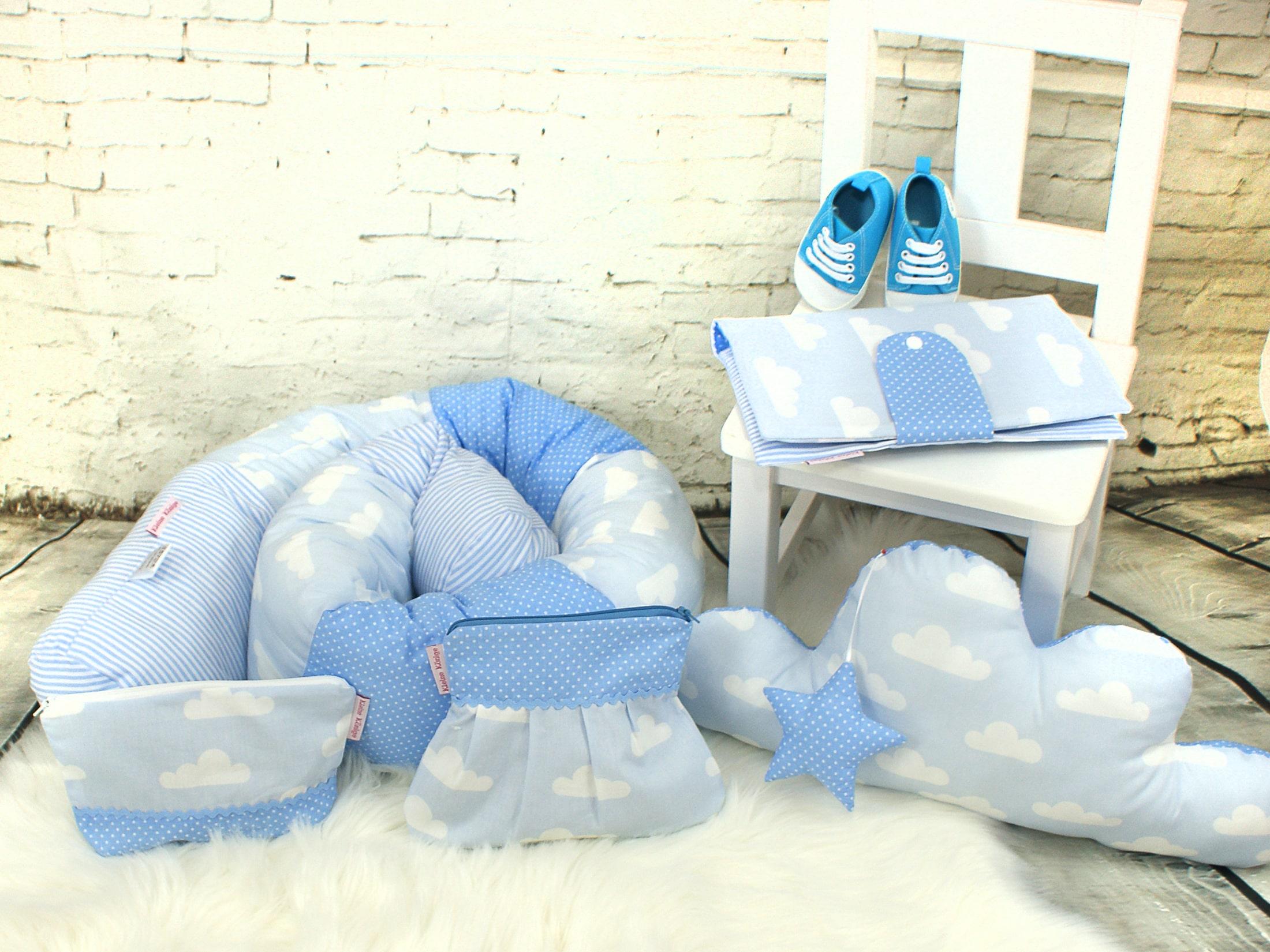 """Baby Bettschlange Nestchen """"Wolken"""" hellblau"""