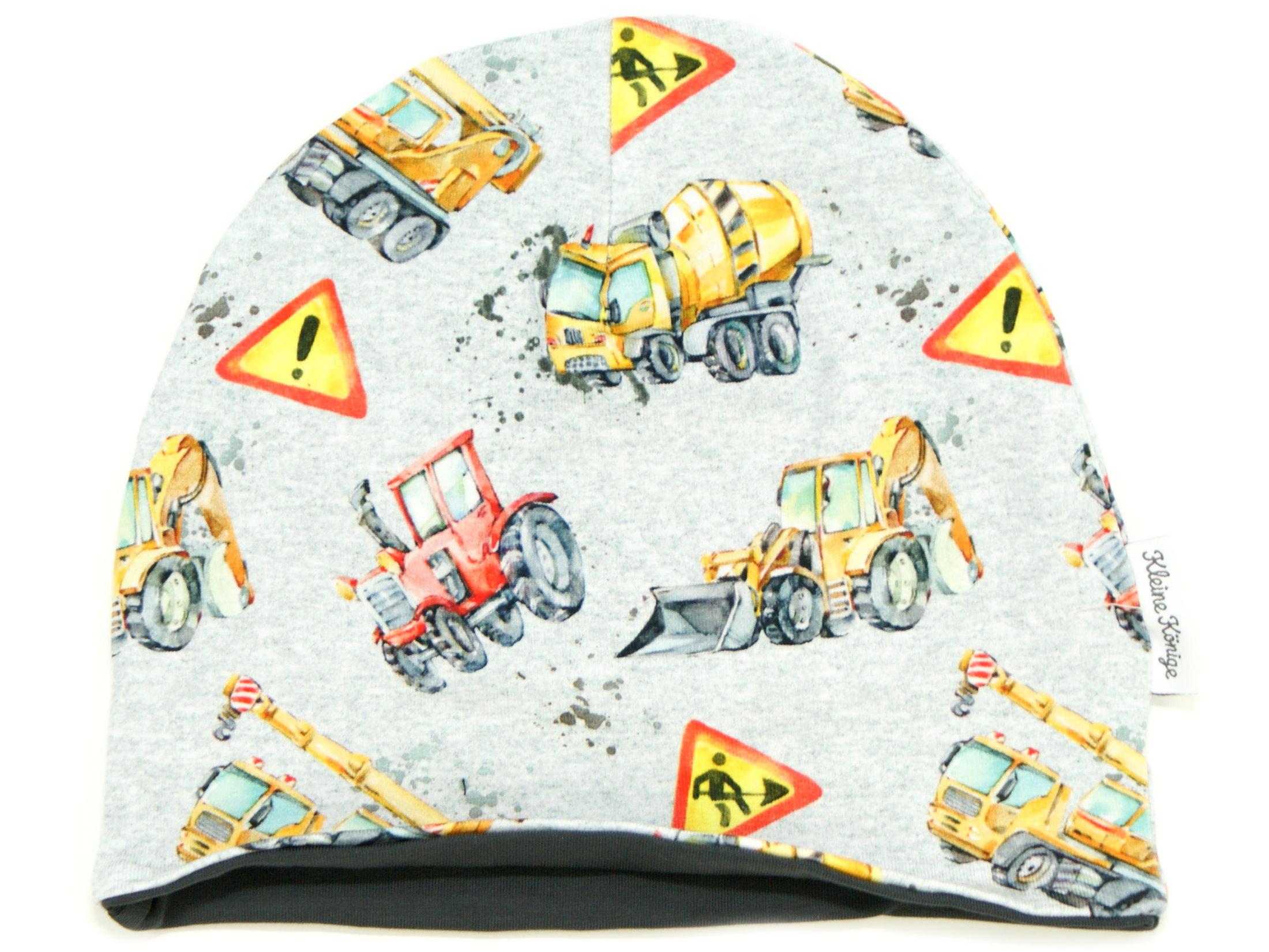 """Kindermütze Beanie Traktor Bagger """"Danger Zone"""" grau"""