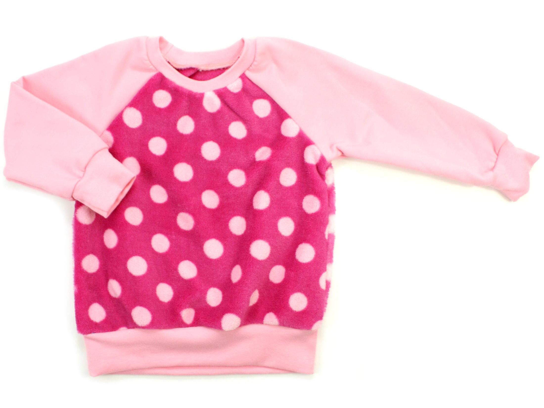 """Kinder Pullover """"Große Punkte"""" rosa pink aus Kuschelfleece"""