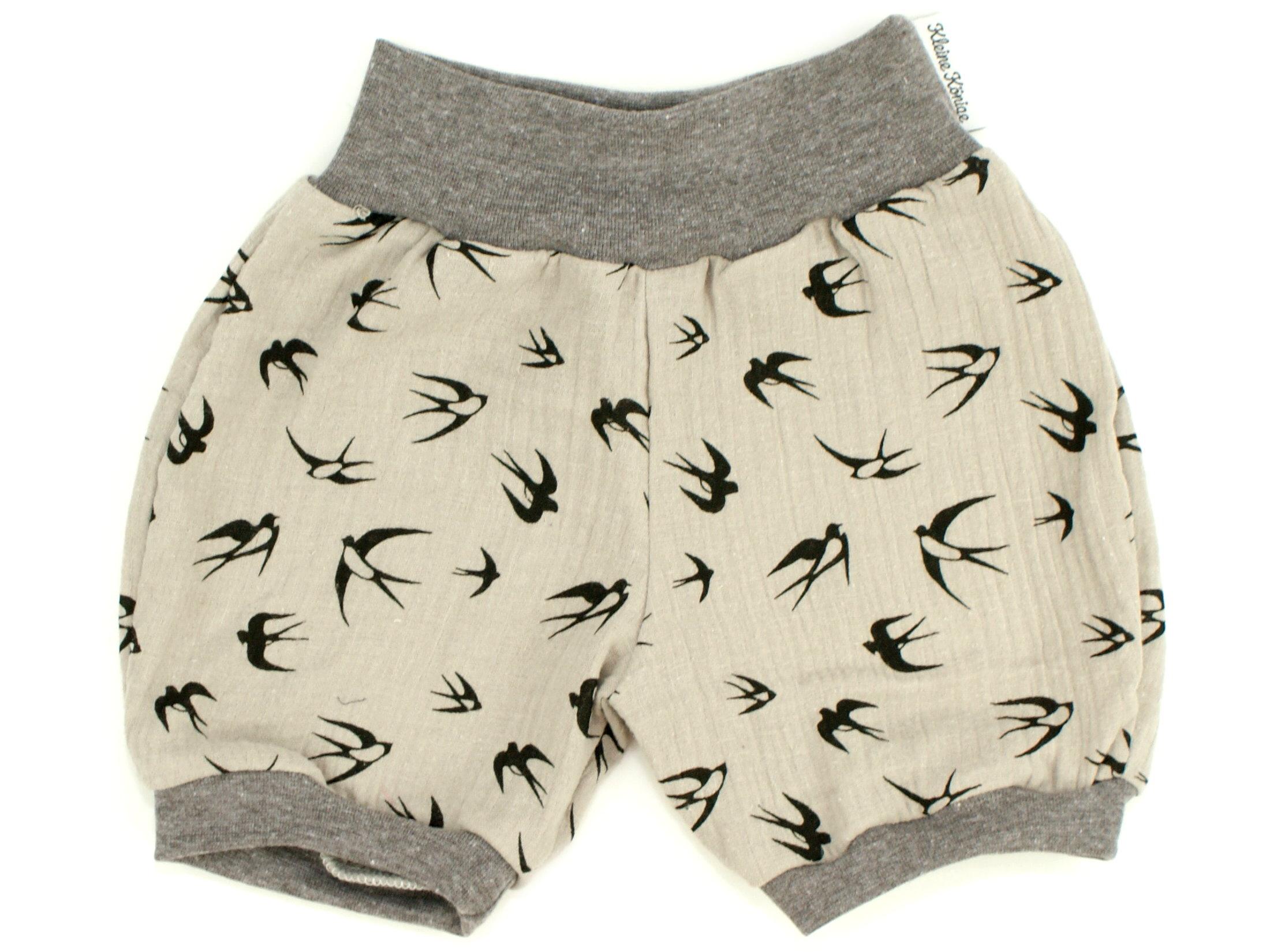 """Musselin Kinder Shorts """"Schwalben"""" hellgrau"""