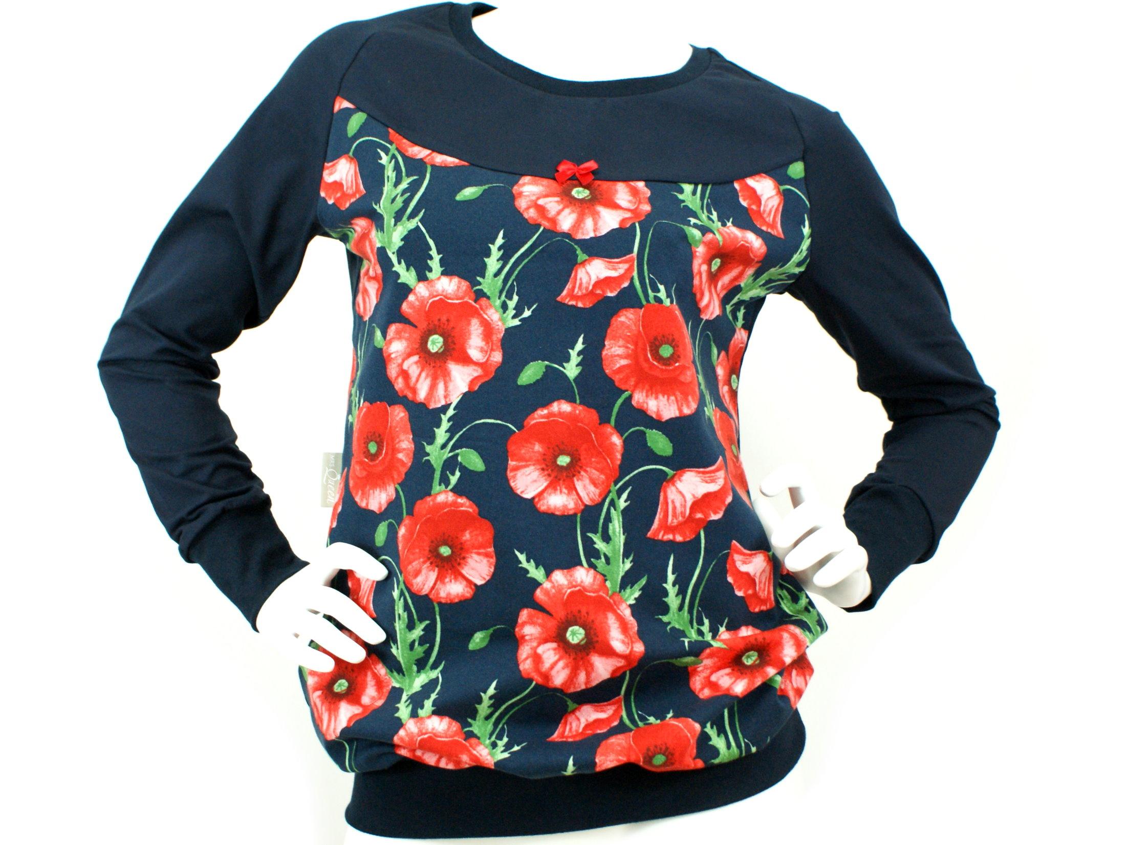 "Damenshirt Pullover Mohnblume ""Poppy"" marineblau rot"