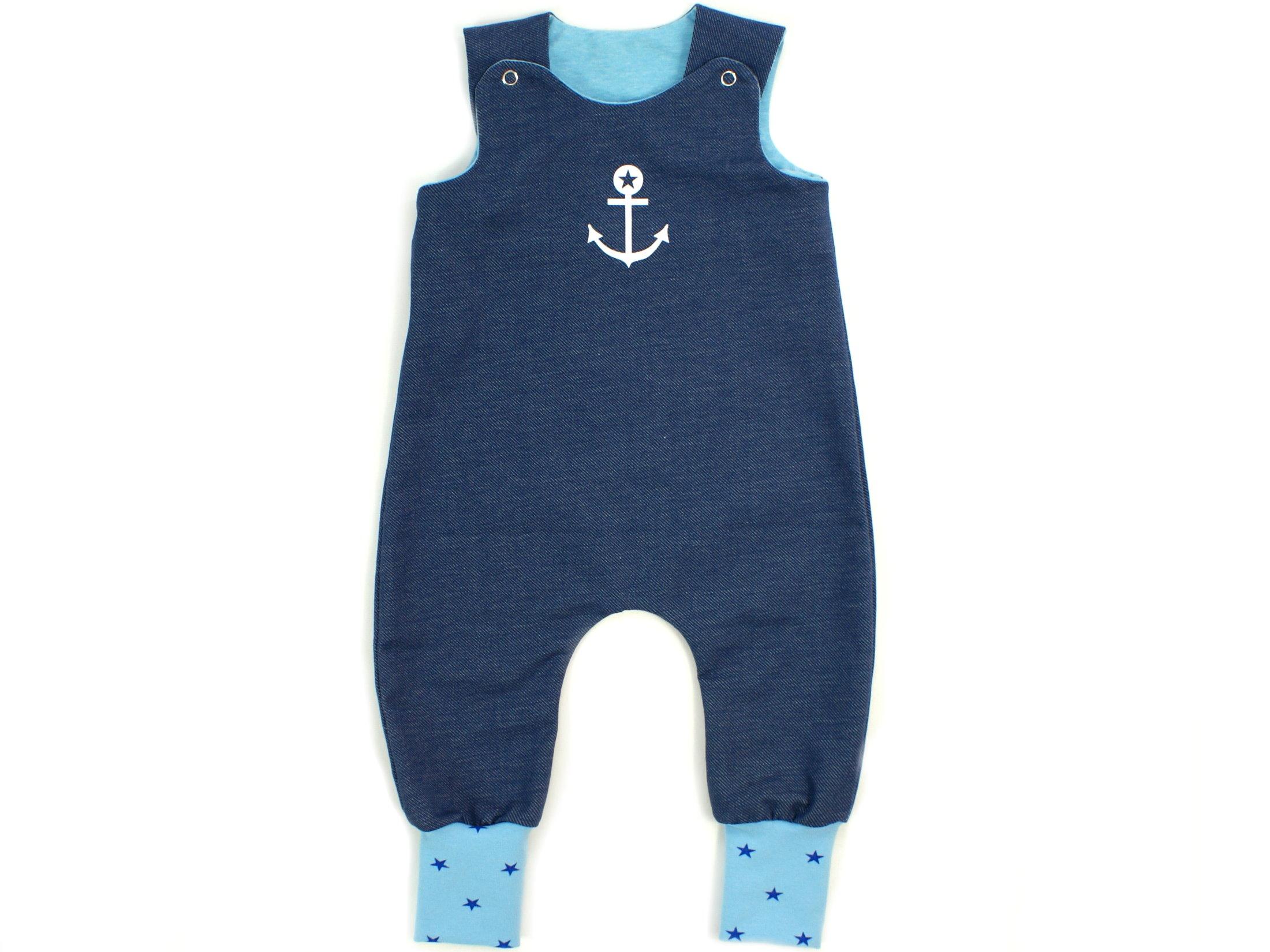Baby Strampler Anker Jeansjersey blau türkis