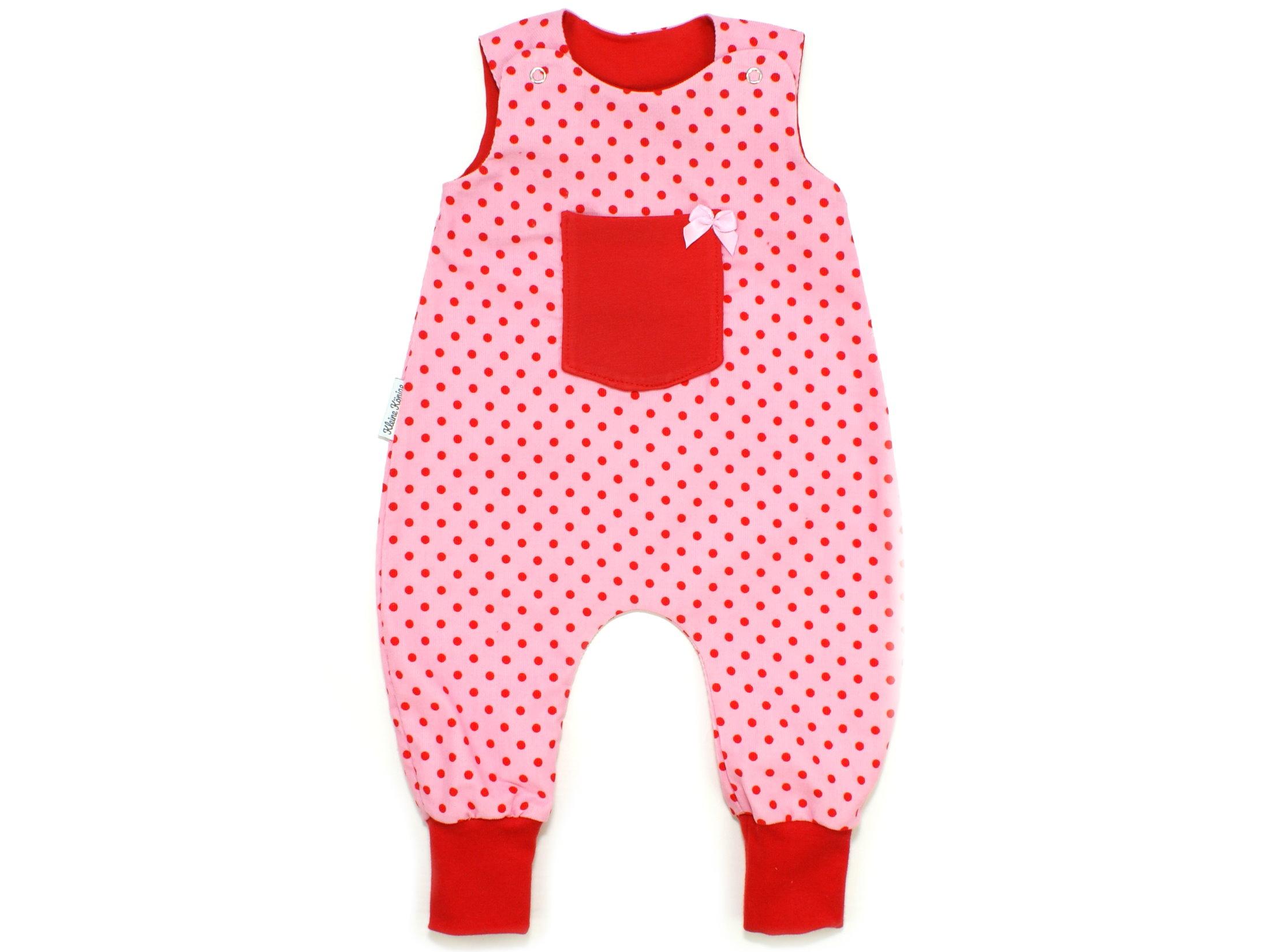 "Baby Strampler Babycord ""Dots"" rosa rot"