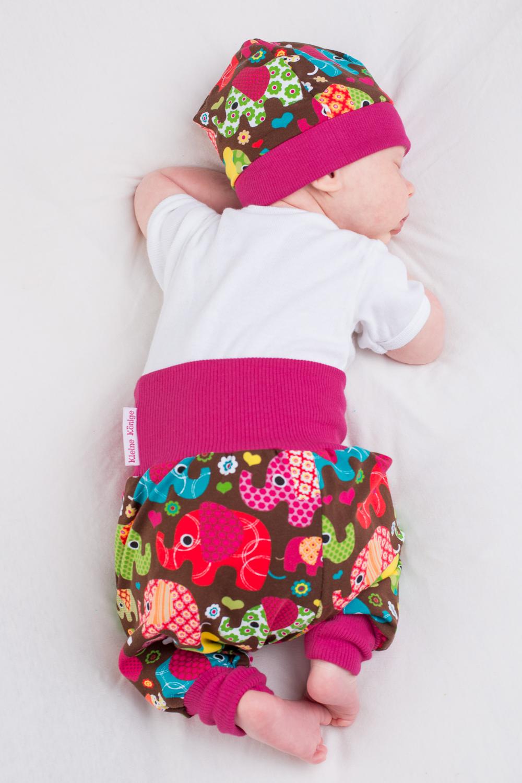 "Baby Pumphose Babyhose ""Elefantenparty"" pink"