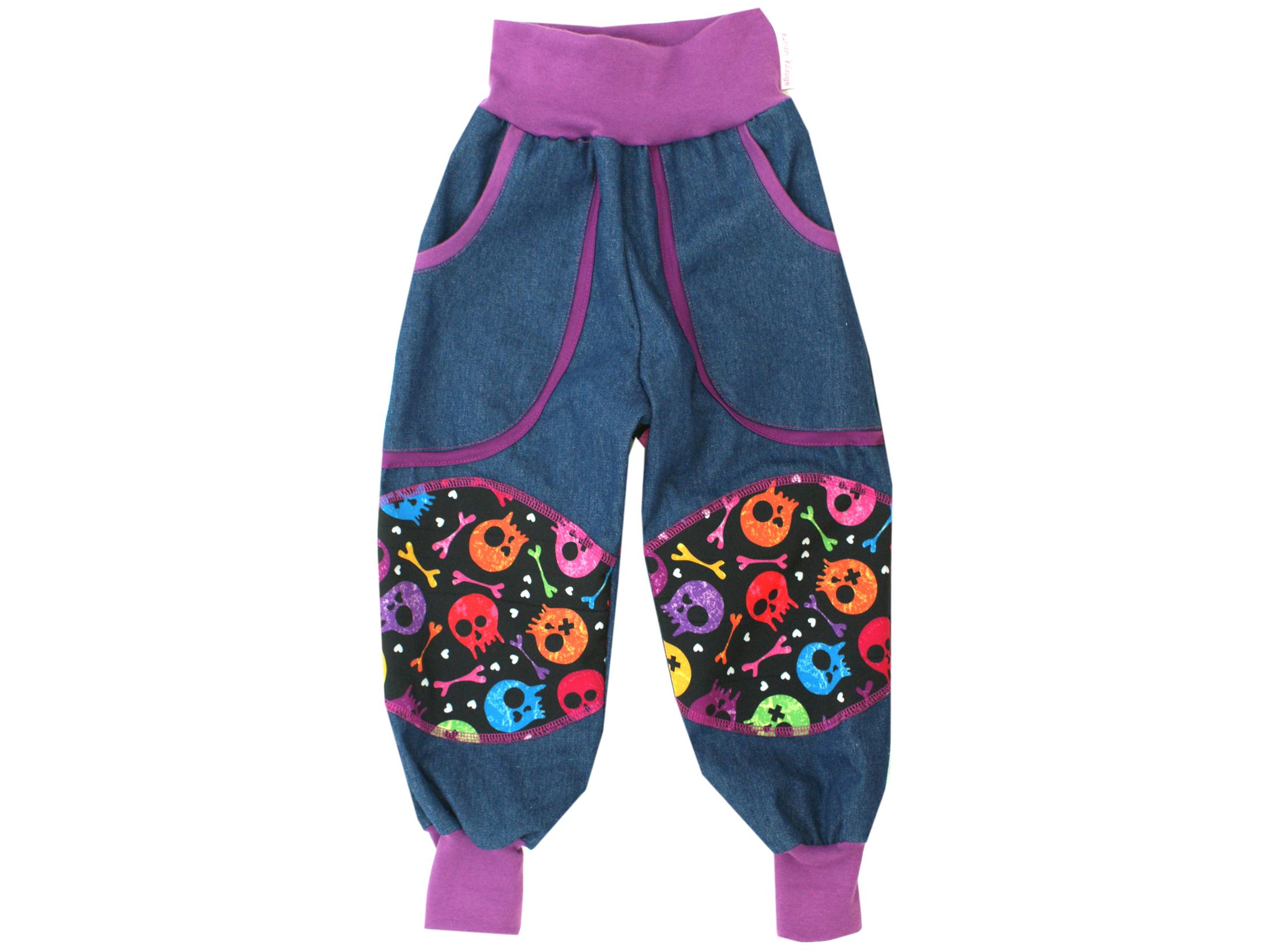 "Kinder Outdoorhose Jeans Räuberhose ""Colourful Skulls"" lila schwarz"
