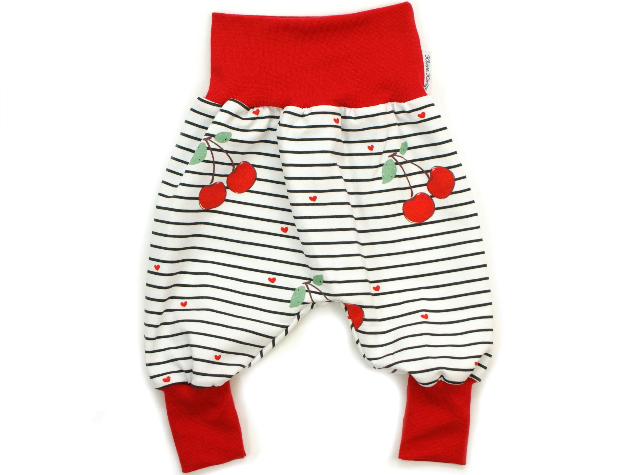"""Baby Pumphose Kirschen """"Cherry"""" Streifen rot"""