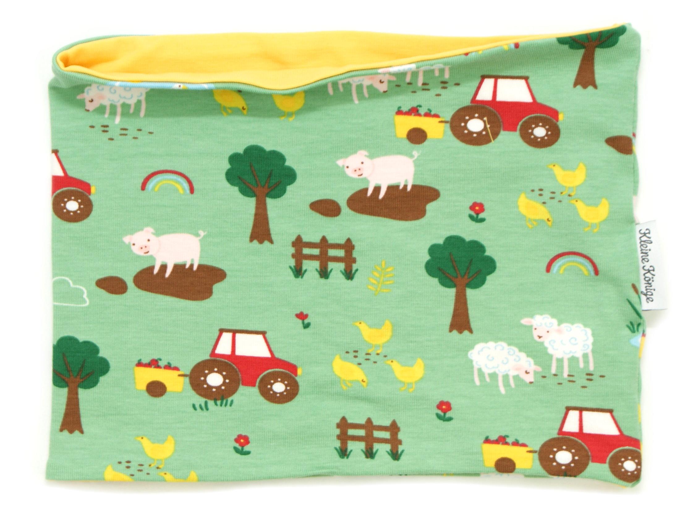 "Kinderloop Schal Bauerhof ""Farm"" grün"
