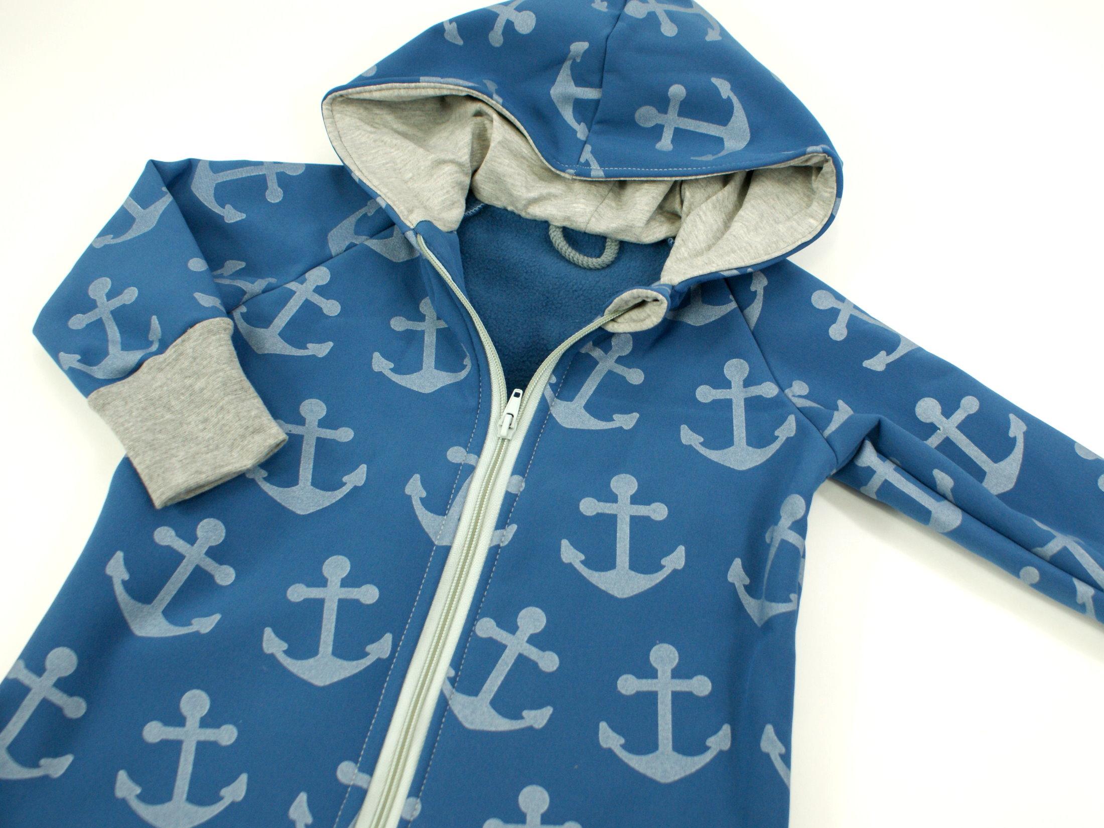"Softshelloverall Anzug Anker ""Big Anchor"" jeansblau hellgrau"