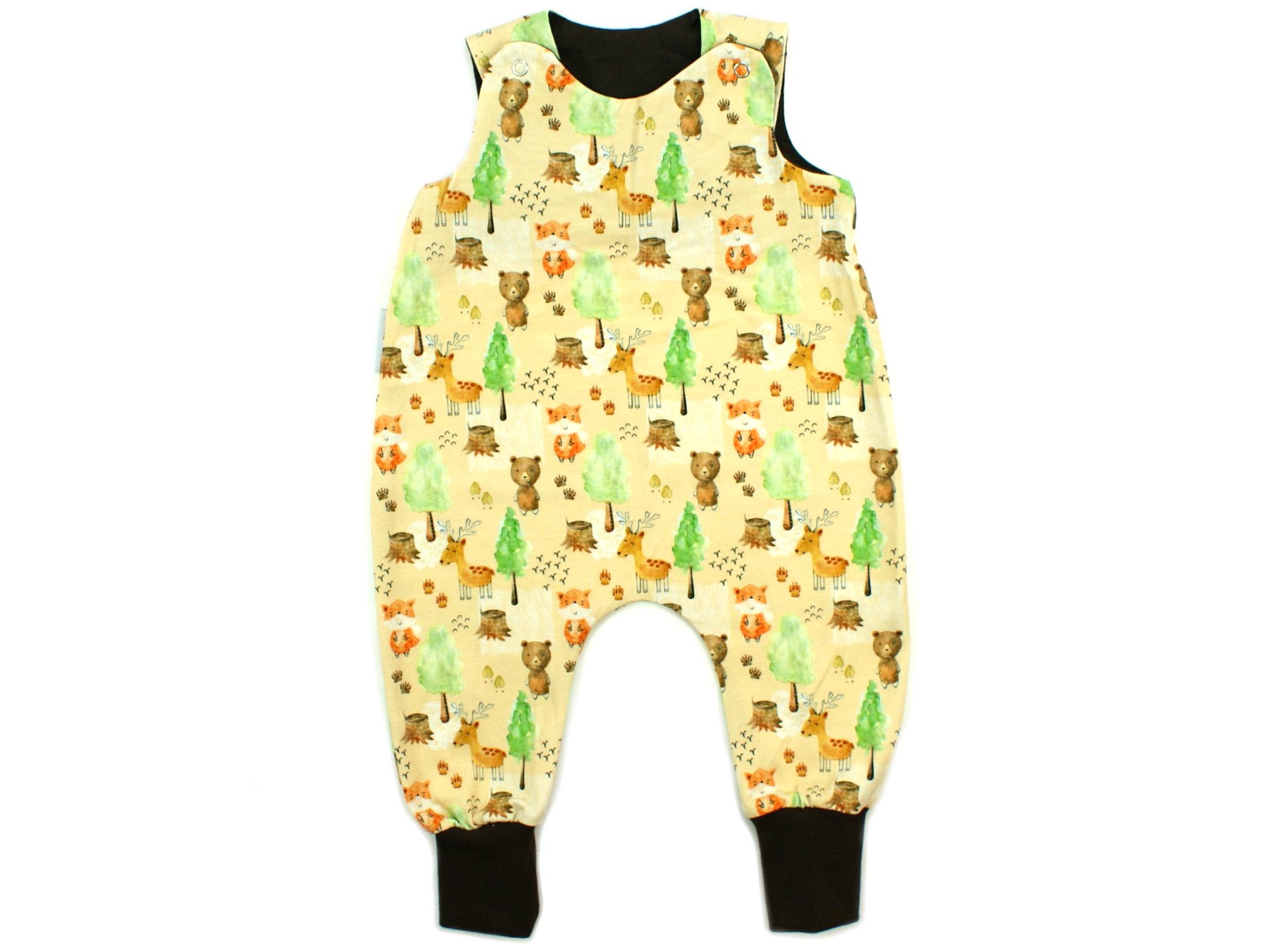 """Baby Strampler Waldtiere """"Herbstwald"""" beige braun"""