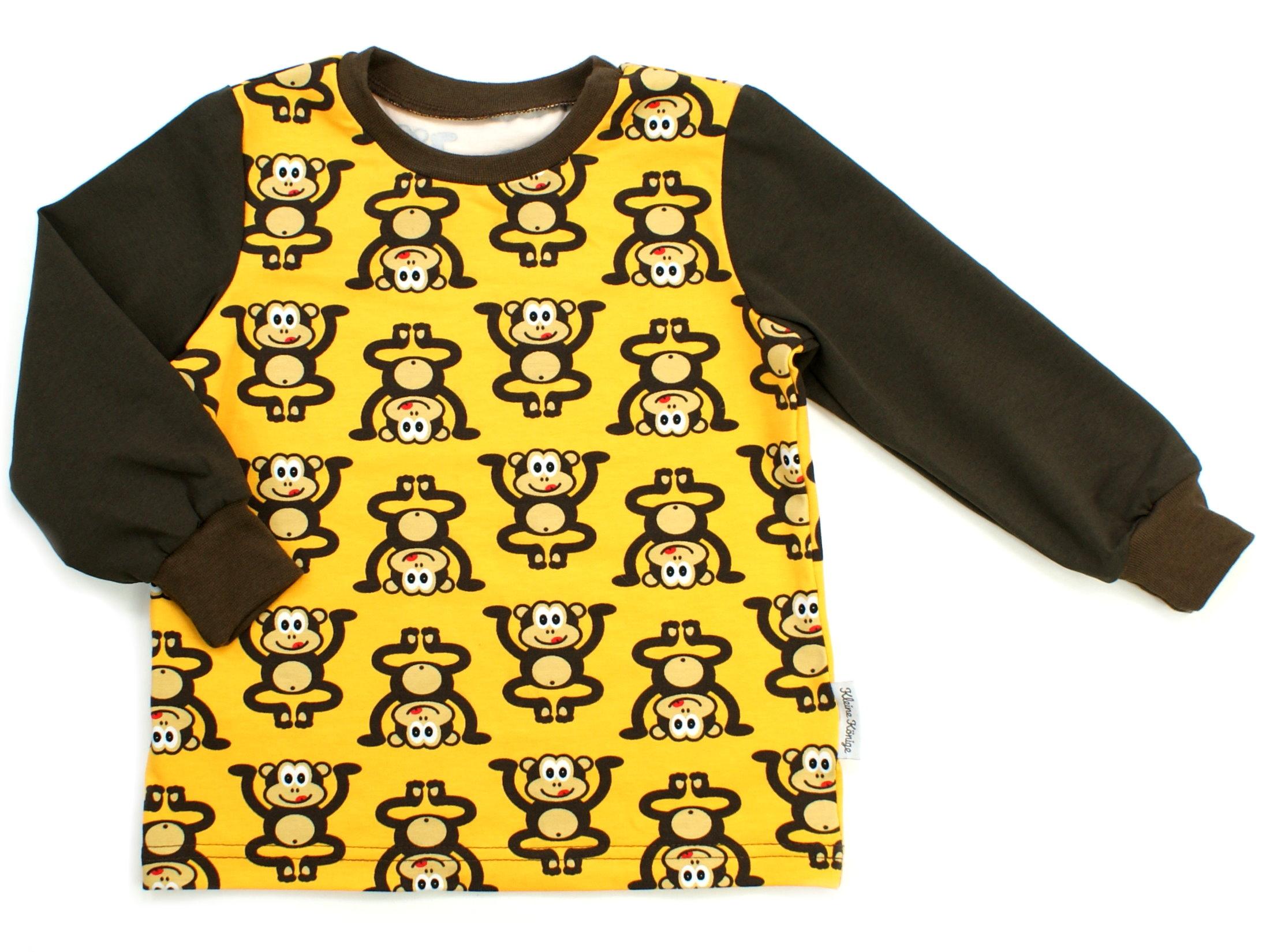"""Kinder Langarmshirt """"Äffchen"""" gelb braun"""