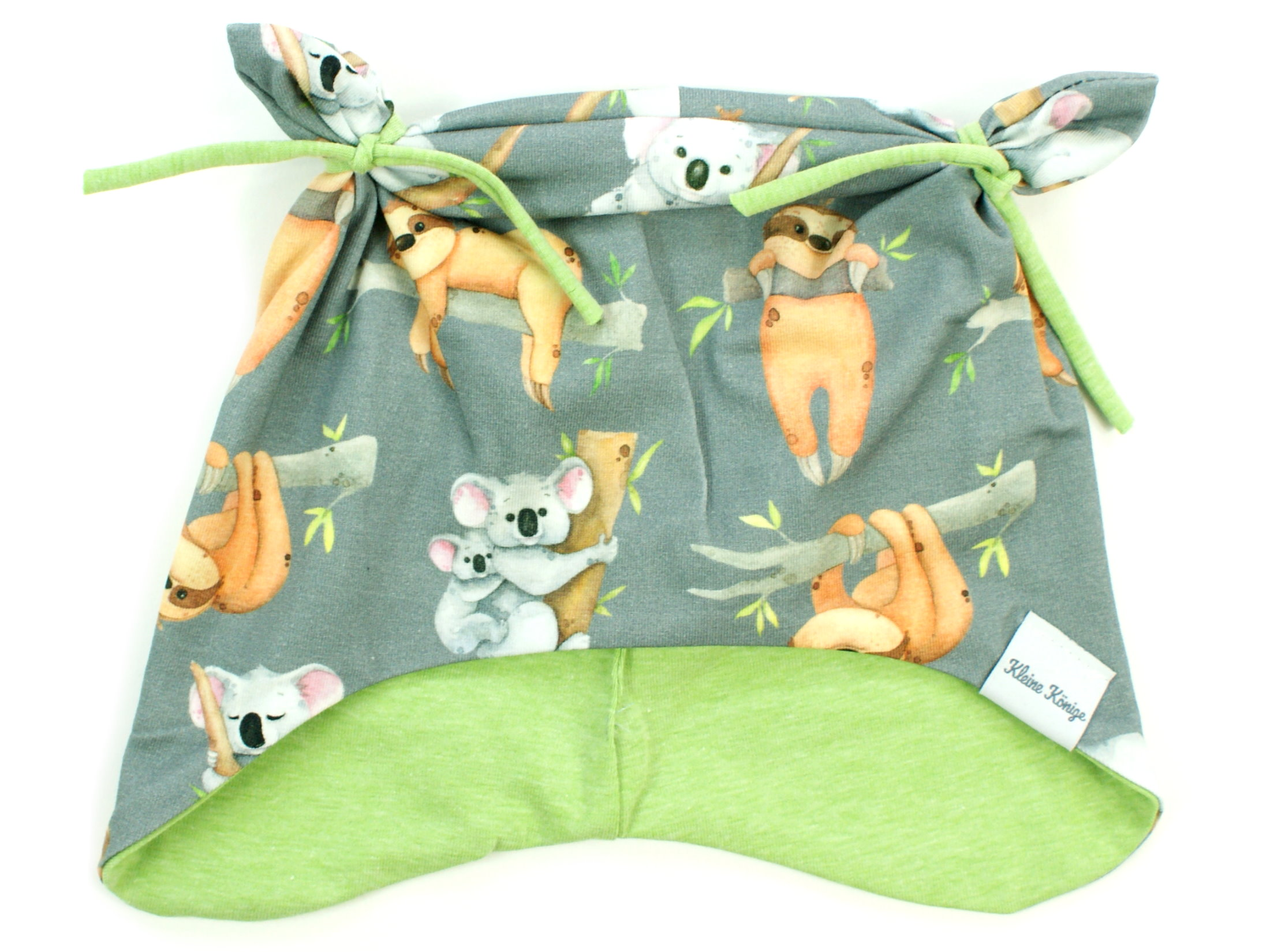 "Kindermütze mit Teddyohren ""Koala & Faultier"" grau"