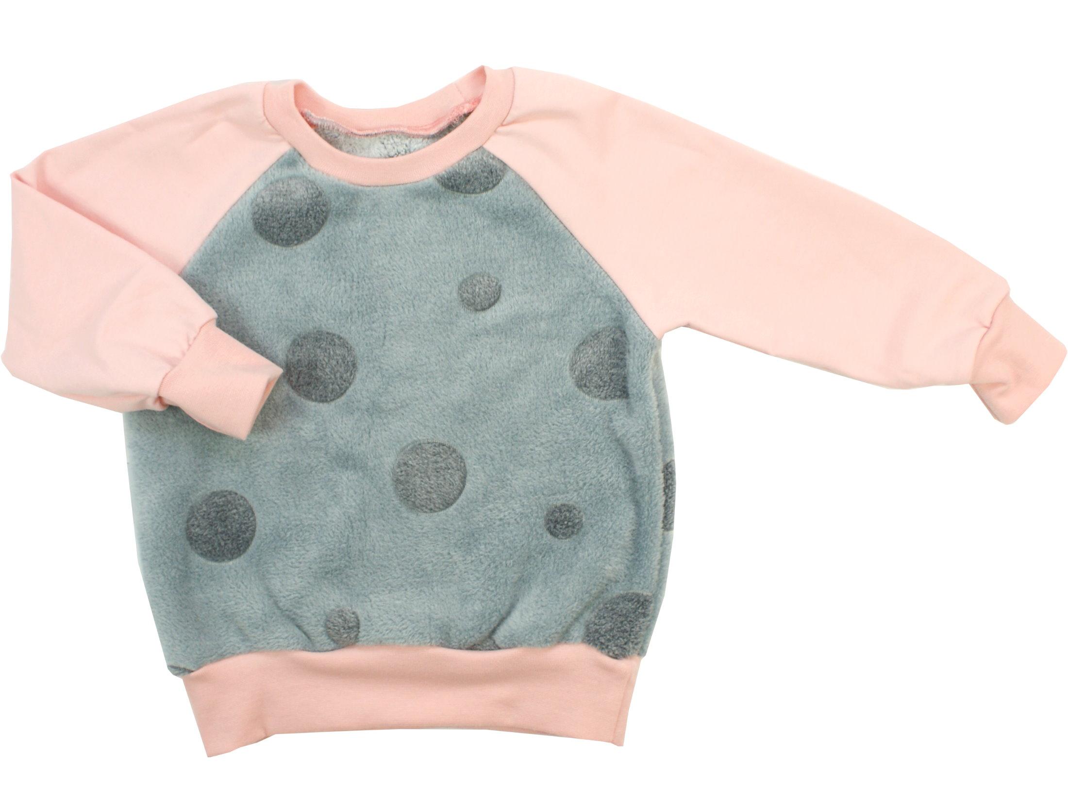 """Kinder Pullover """"Dots"""" grau altrosa aus Kuschelfleece"""