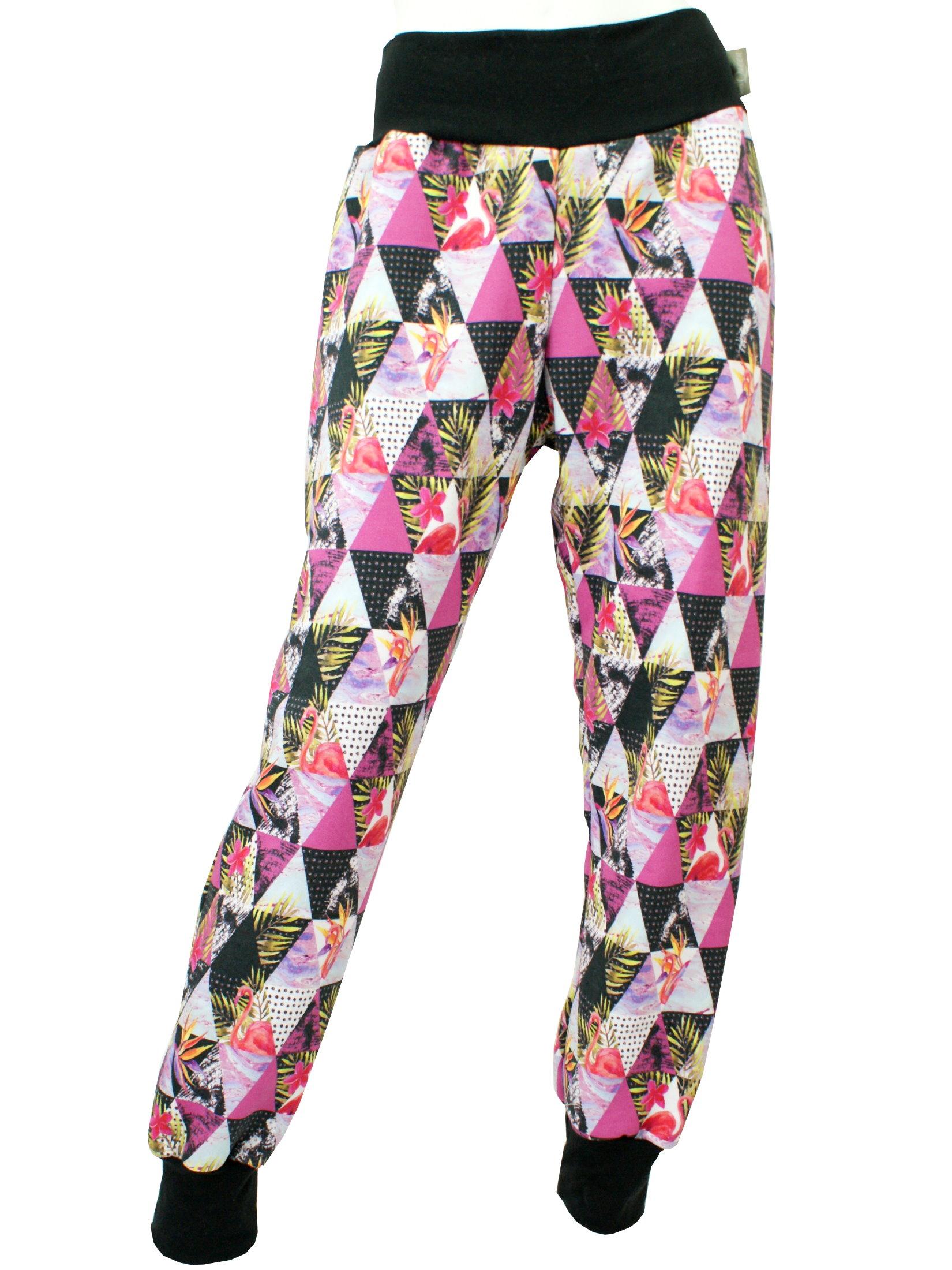 "Damenhose Wohlfühlhose ""Graphic Flamingo"" pink schwarz"