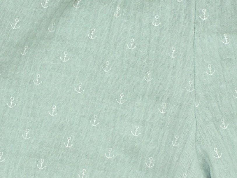 "Musselin Kinder Shorts ""Anker"" mint in 74/80"