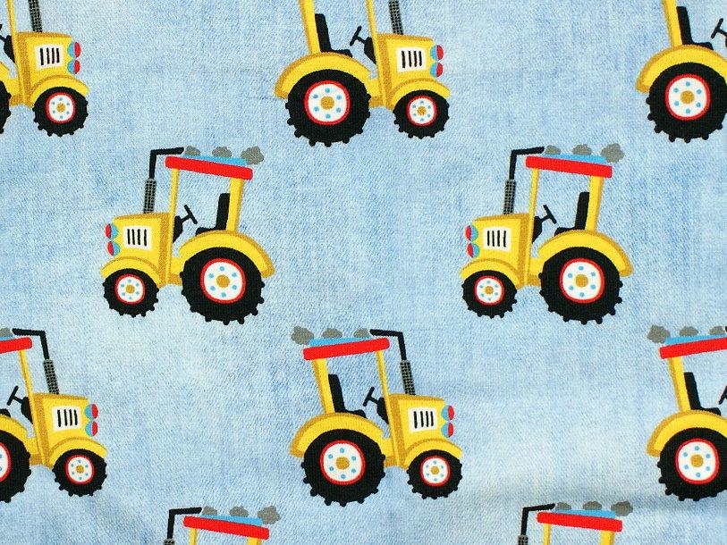 """Baby Pumphose """"Gelber Traktor"""" hellblau"""
