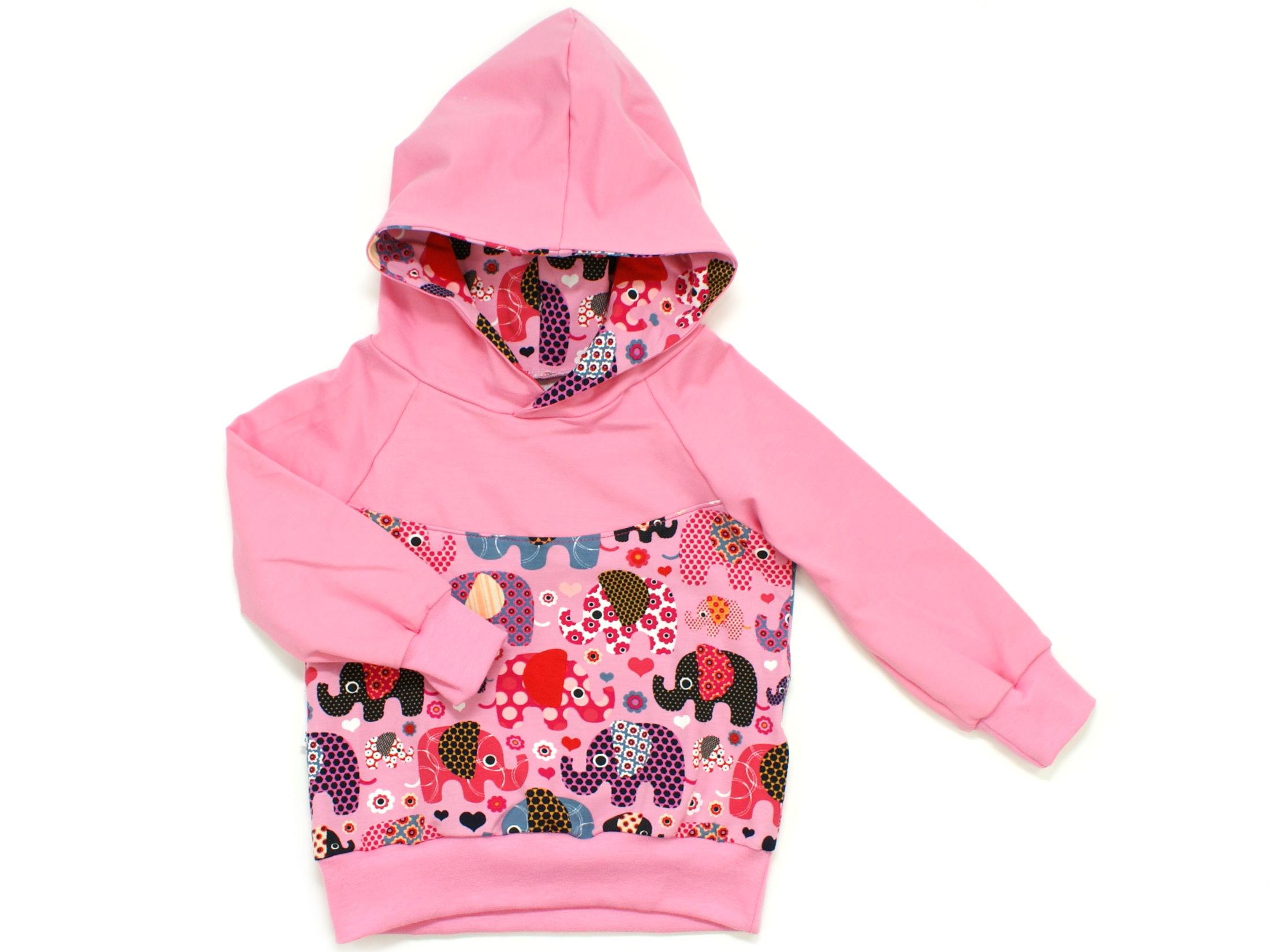 """Kinder Kapuzen Pullover Hoodie """"Elefantenparty"""" rosa beere"""